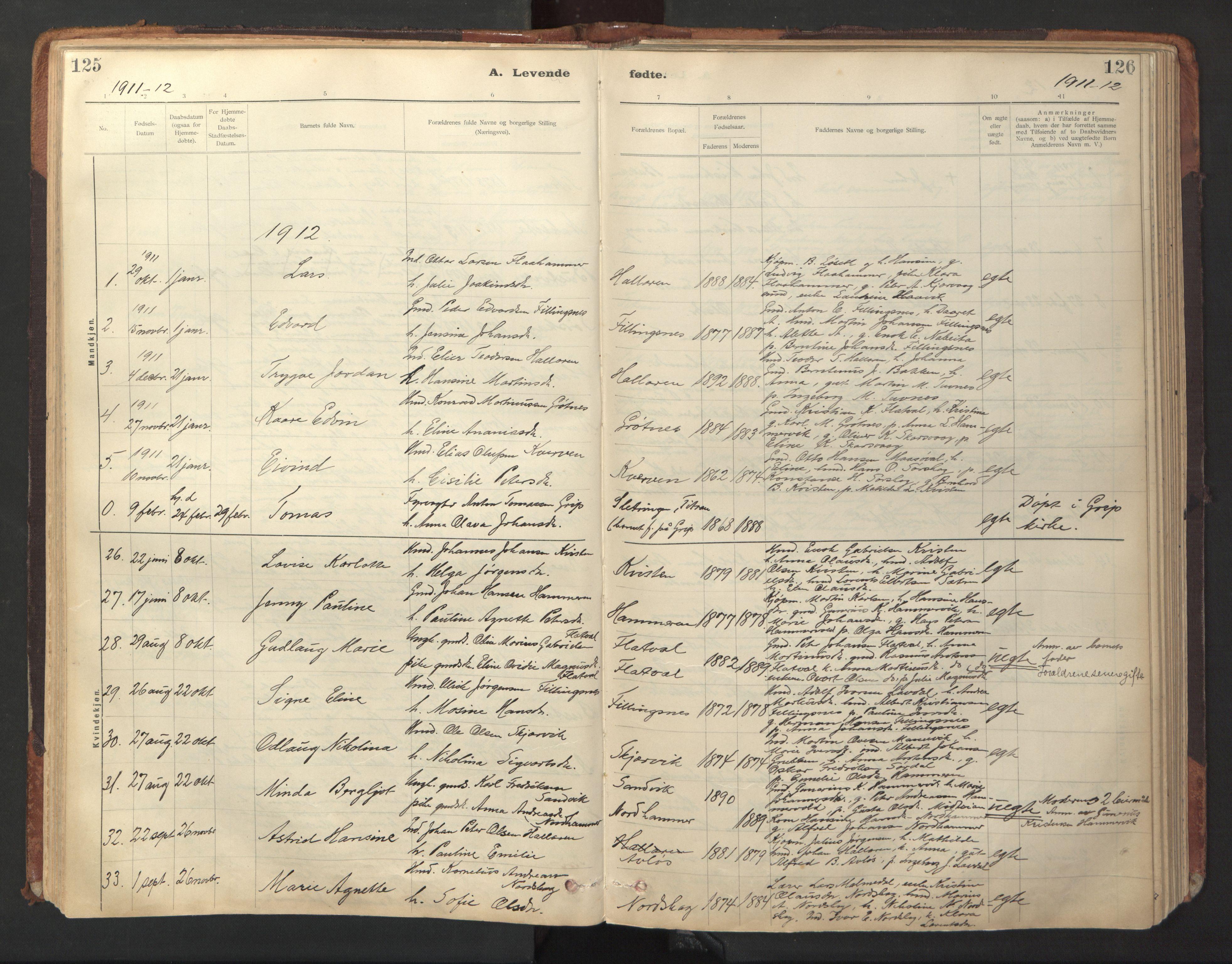 SAT, Ministerialprotokoller, klokkerbøker og fødselsregistre - Sør-Trøndelag, 641/L0596: Ministerialbok nr. 641A02, 1898-1915, s. 125-126