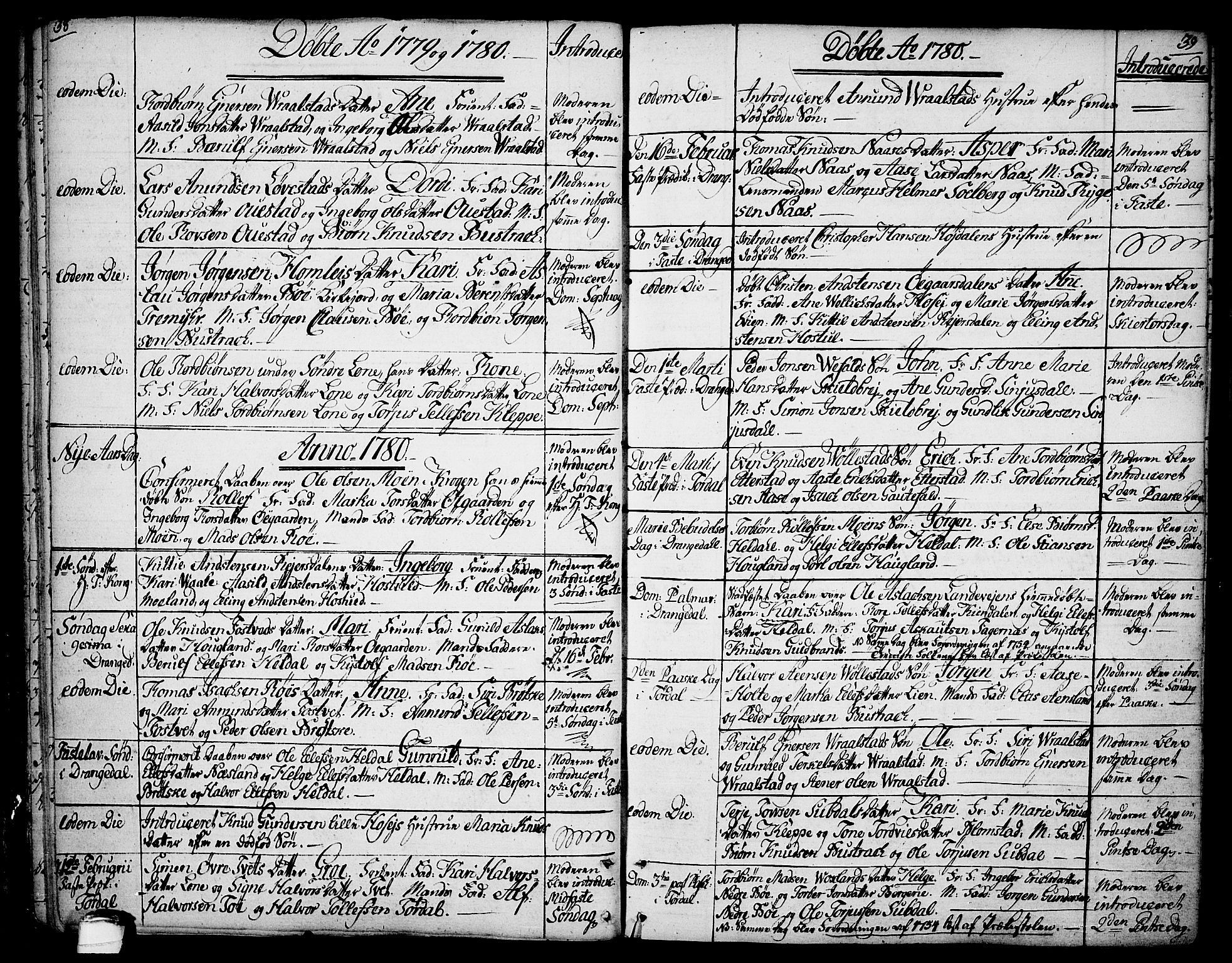 SAKO, Drangedal kirkebøker, F/Fa/L0003: Ministerialbok nr. 3, 1768-1814, s. 38-39