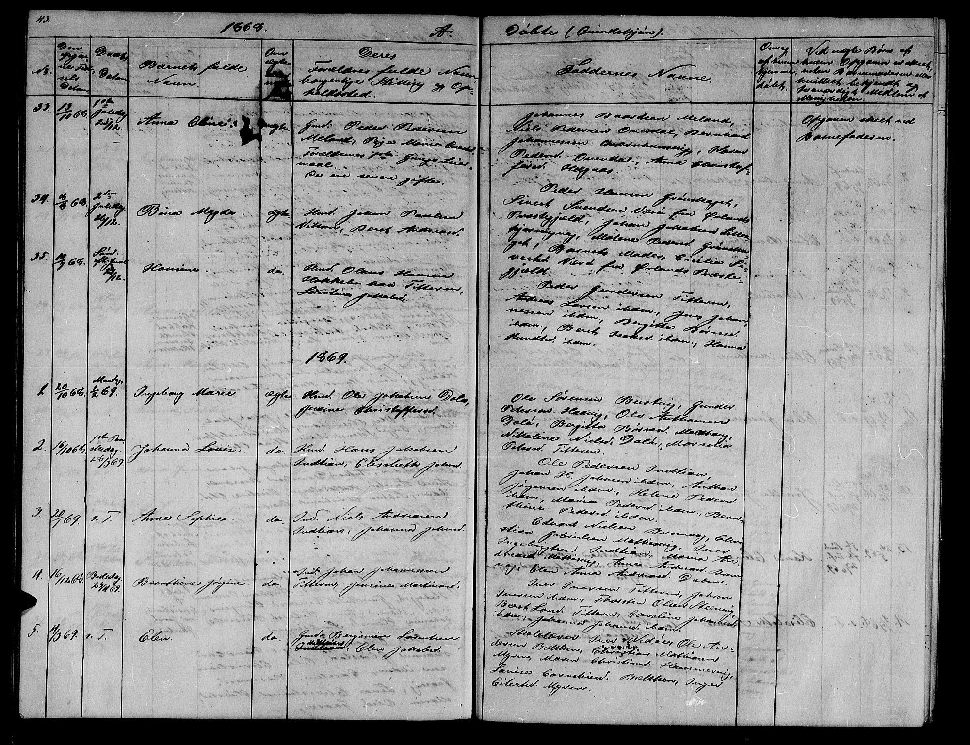 SAT, Ministerialprotokoller, klokkerbøker og fødselsregistre - Sør-Trøndelag, 634/L0539: Klokkerbok nr. 634C01, 1866-1873, s. 43