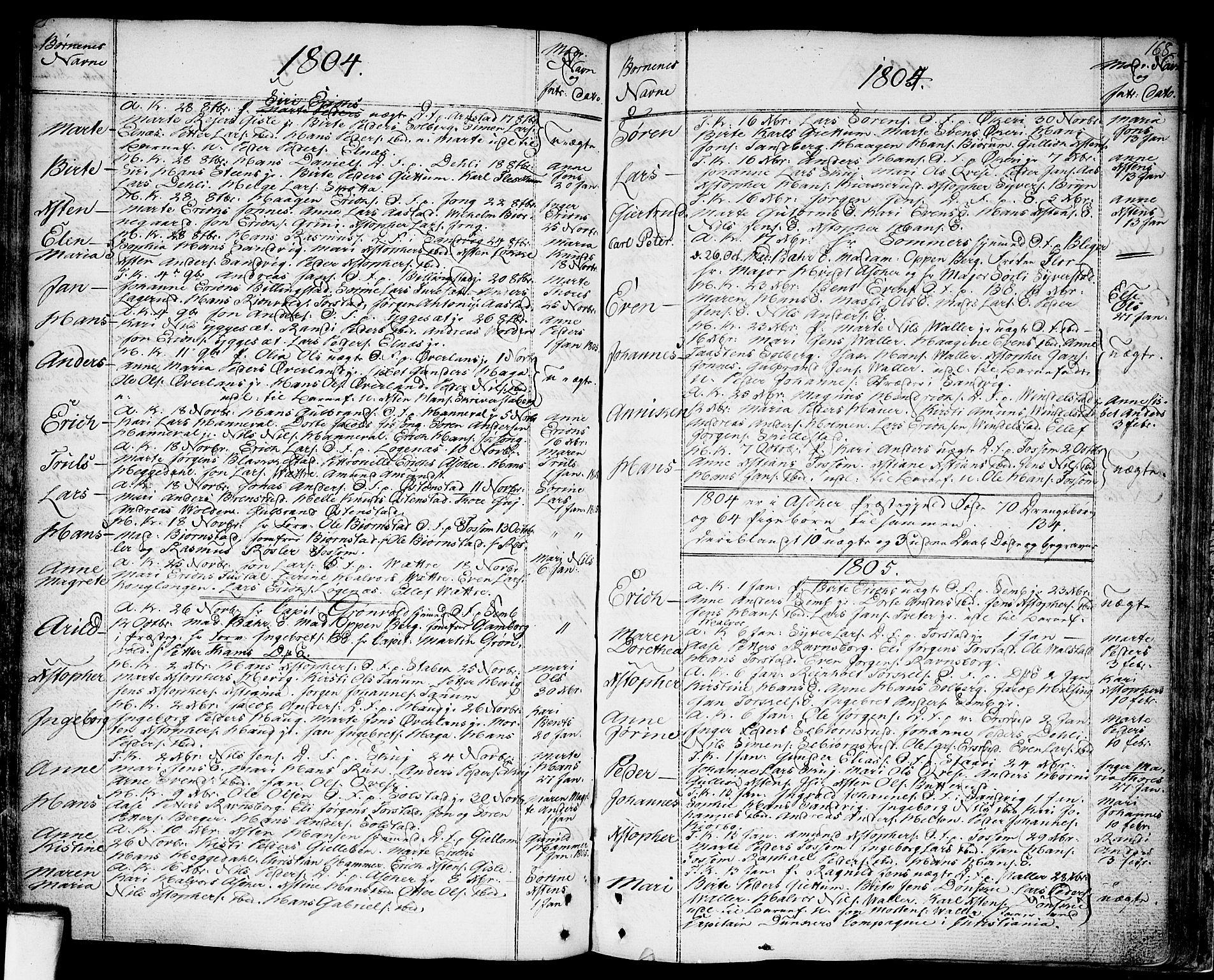 SAO, Asker prestekontor Kirkebøker, F/Fa/L0003: Ministerialbok nr. I 3, 1767-1807, s. 168