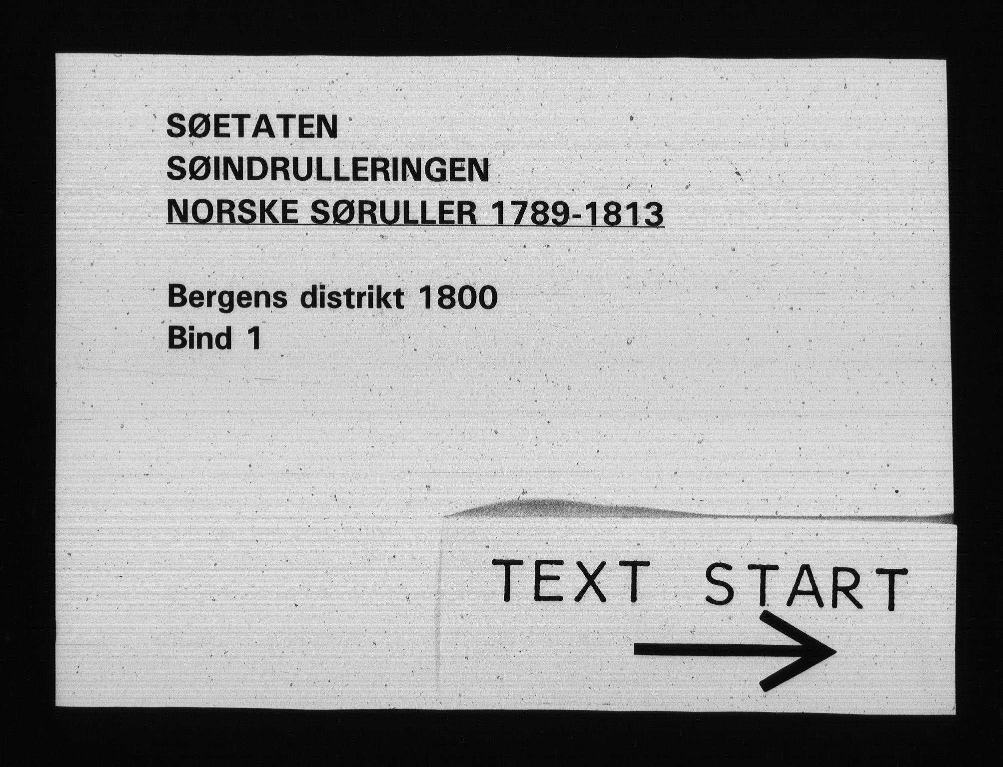 RA, Sjøetaten, F/L0229: Bergen distrikt, bind 1, 1800