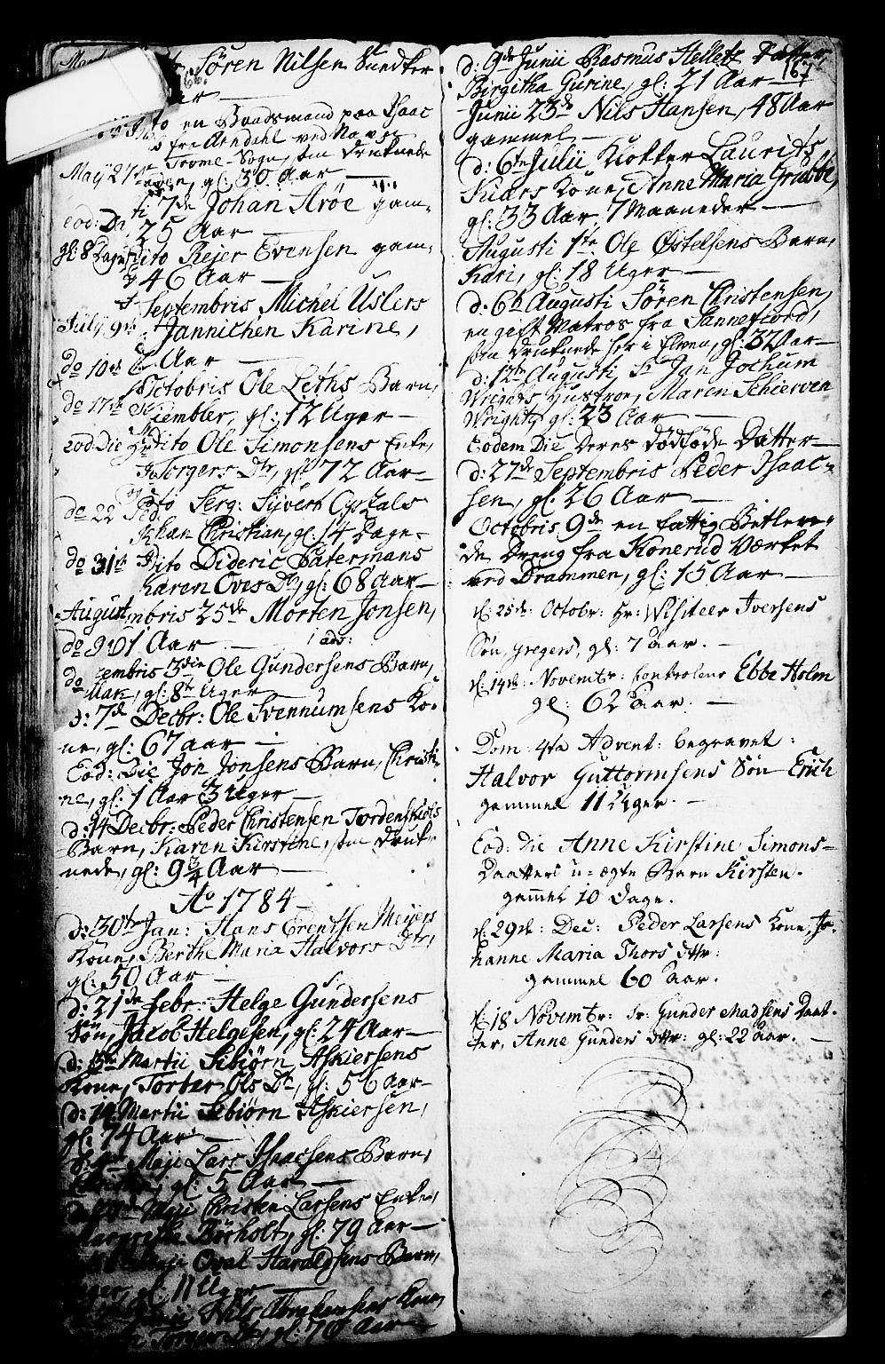 SAKO, Porsgrunn kirkebøker , G/Ga/L0001: Klokkerbok nr. I 1, 1766-1790, s. 166-167