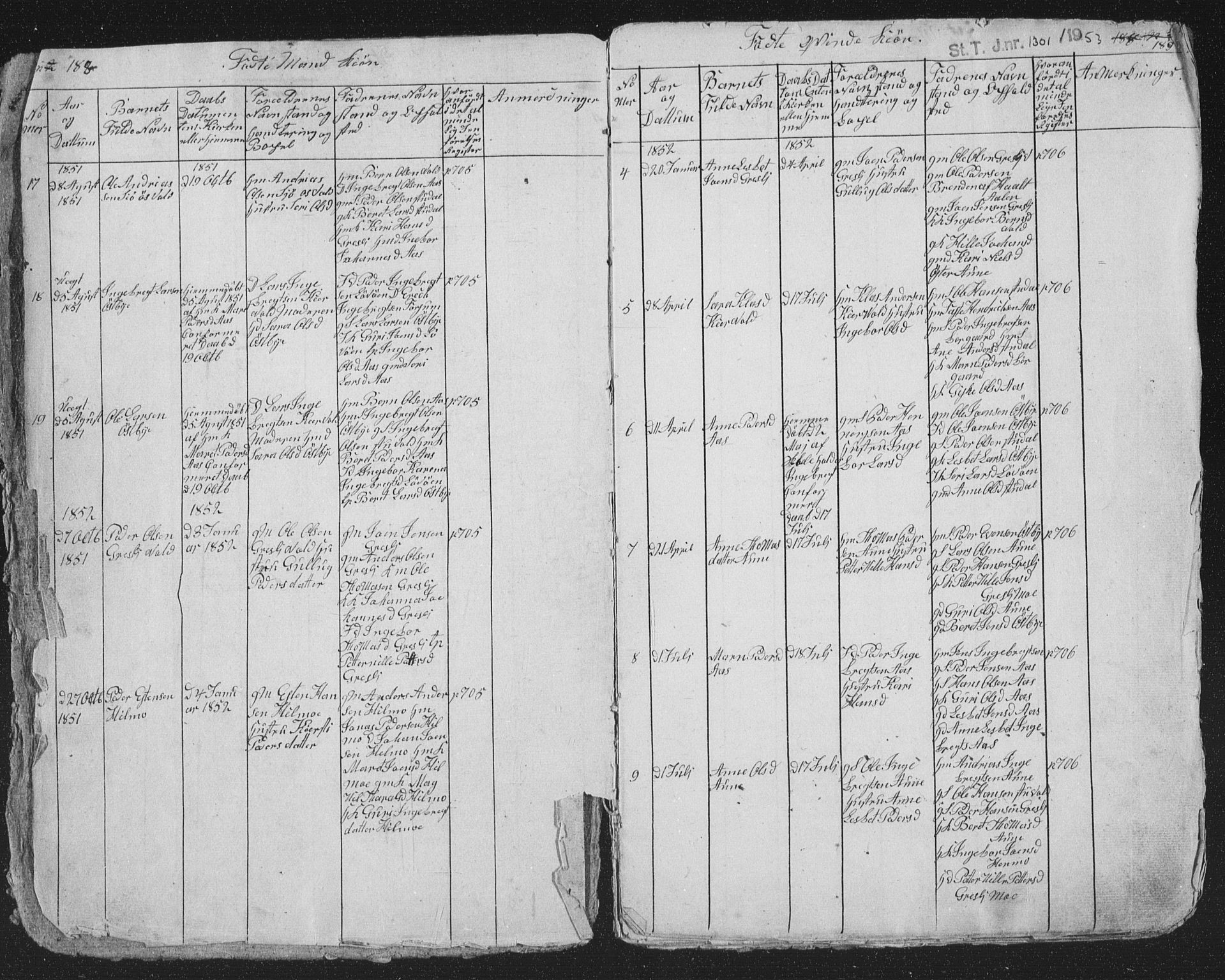 SAT, Ministerialprotokoller, klokkerbøker og fødselsregistre - Sør-Trøndelag, 698/L1165: Klokkerbok nr. 698C02, 1851-1861, s. 188-189