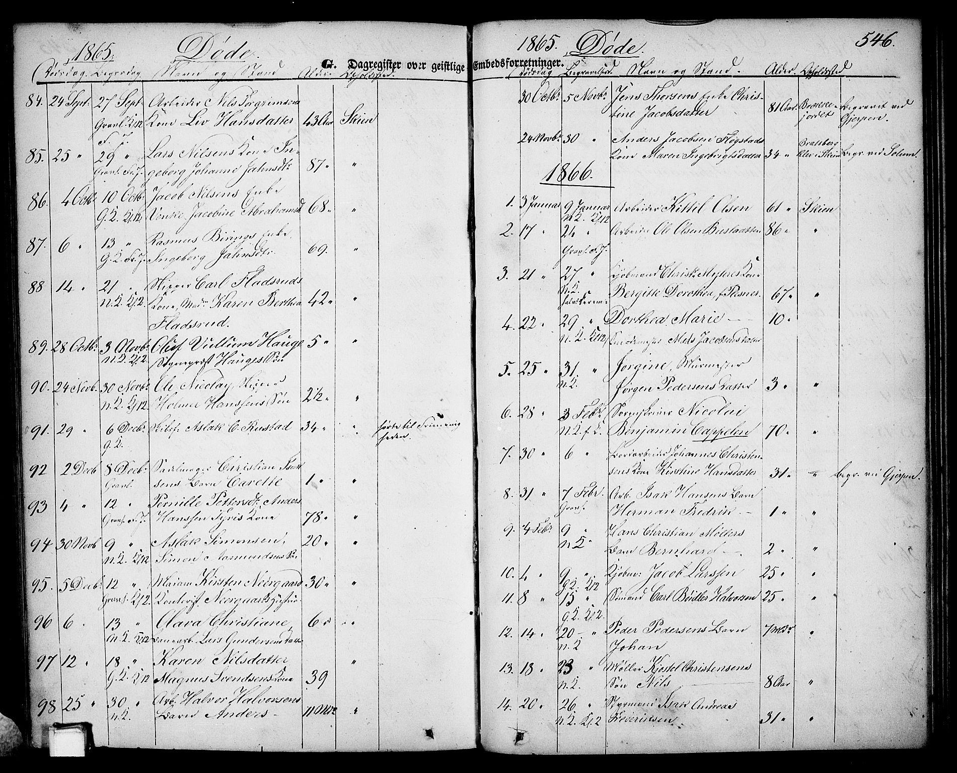SAKO, Skien kirkebøker, G/Ga/L0004: Klokkerbok nr. 4, 1843-1867, s. 546
