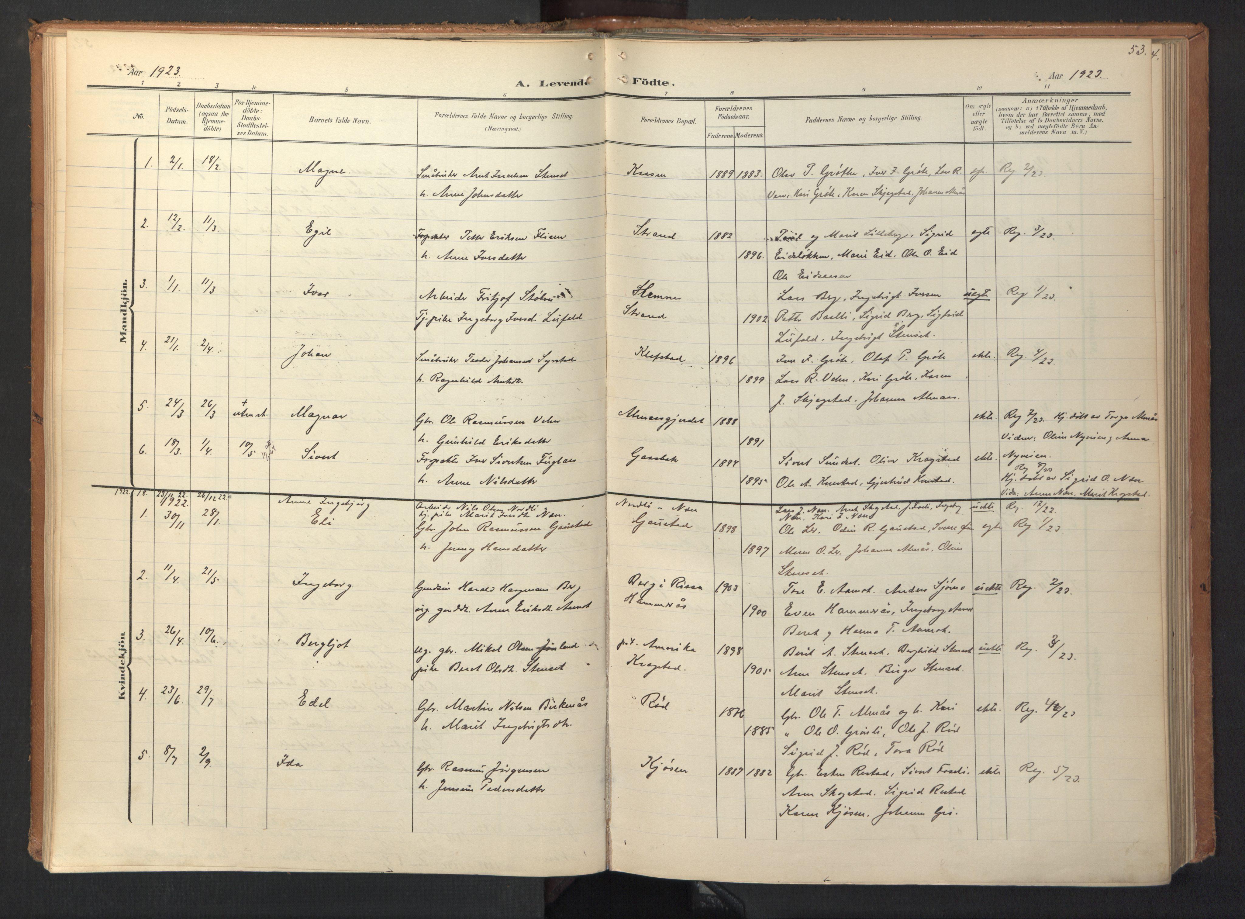 SAT, Ministerialprotokoller, klokkerbøker og fødselsregistre - Sør-Trøndelag, 694/L1128: Ministerialbok nr. 694A02, 1906-1931, s. 53