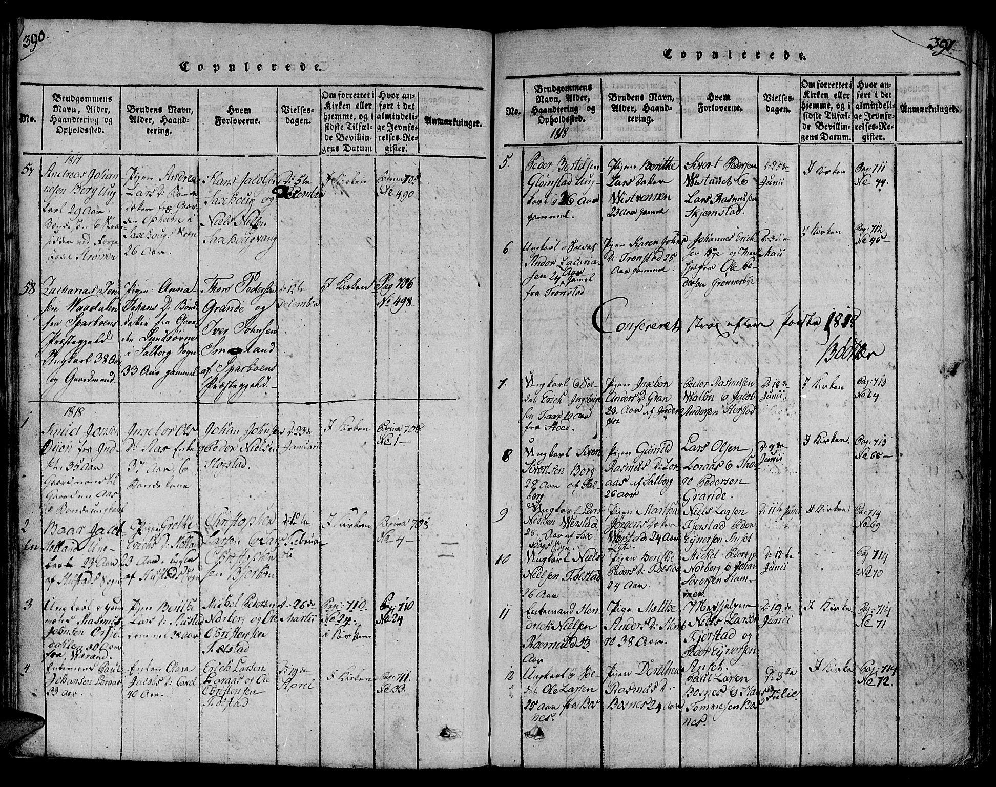 SAT, Ministerialprotokoller, klokkerbøker og fødselsregistre - Nord-Trøndelag, 730/L0275: Ministerialbok nr. 730A04, 1816-1822, s. 390-391