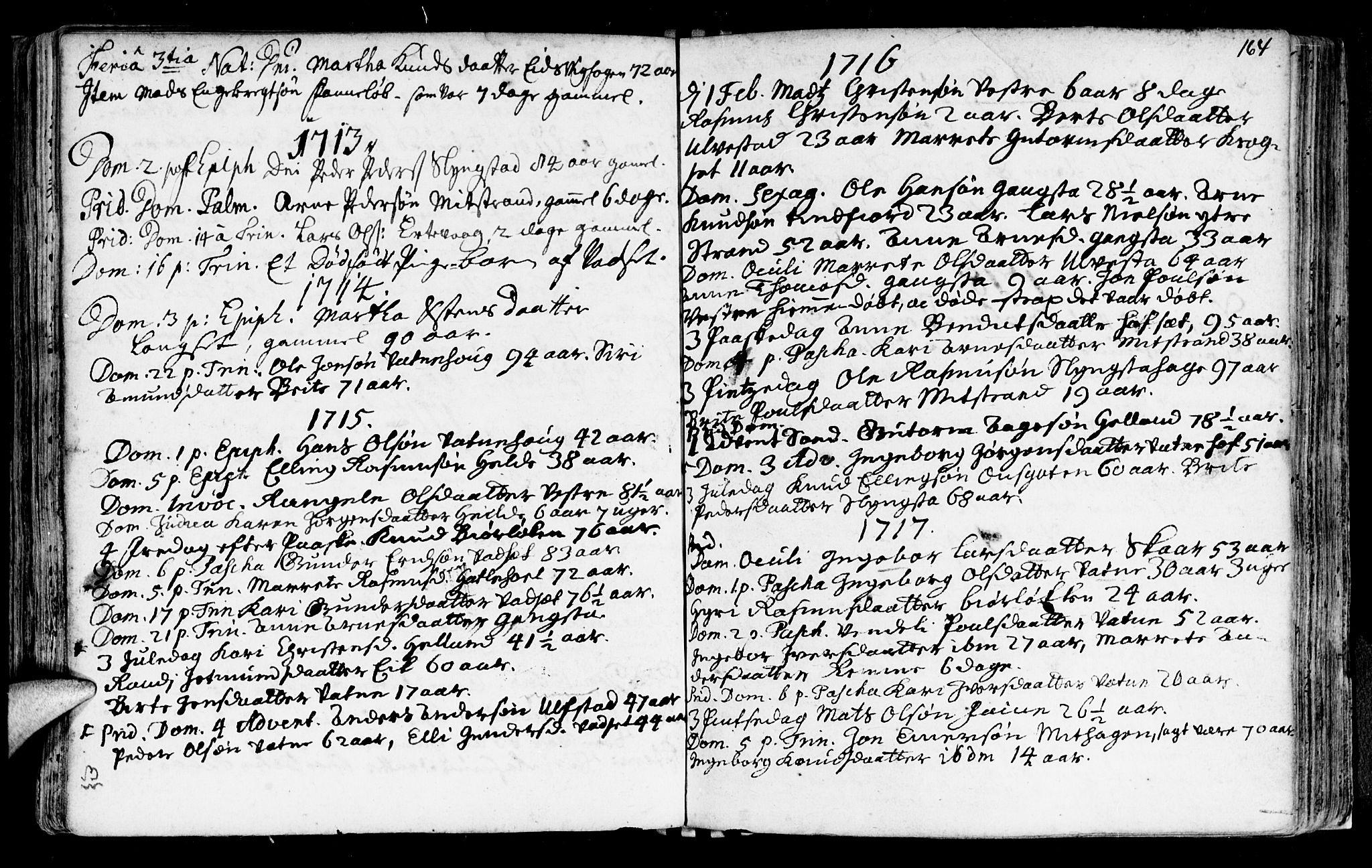 SAT, Ministerialprotokoller, klokkerbøker og fødselsregistre - Møre og Romsdal, 525/L0371: Ministerialbok nr. 525A01, 1699-1777, s. 164