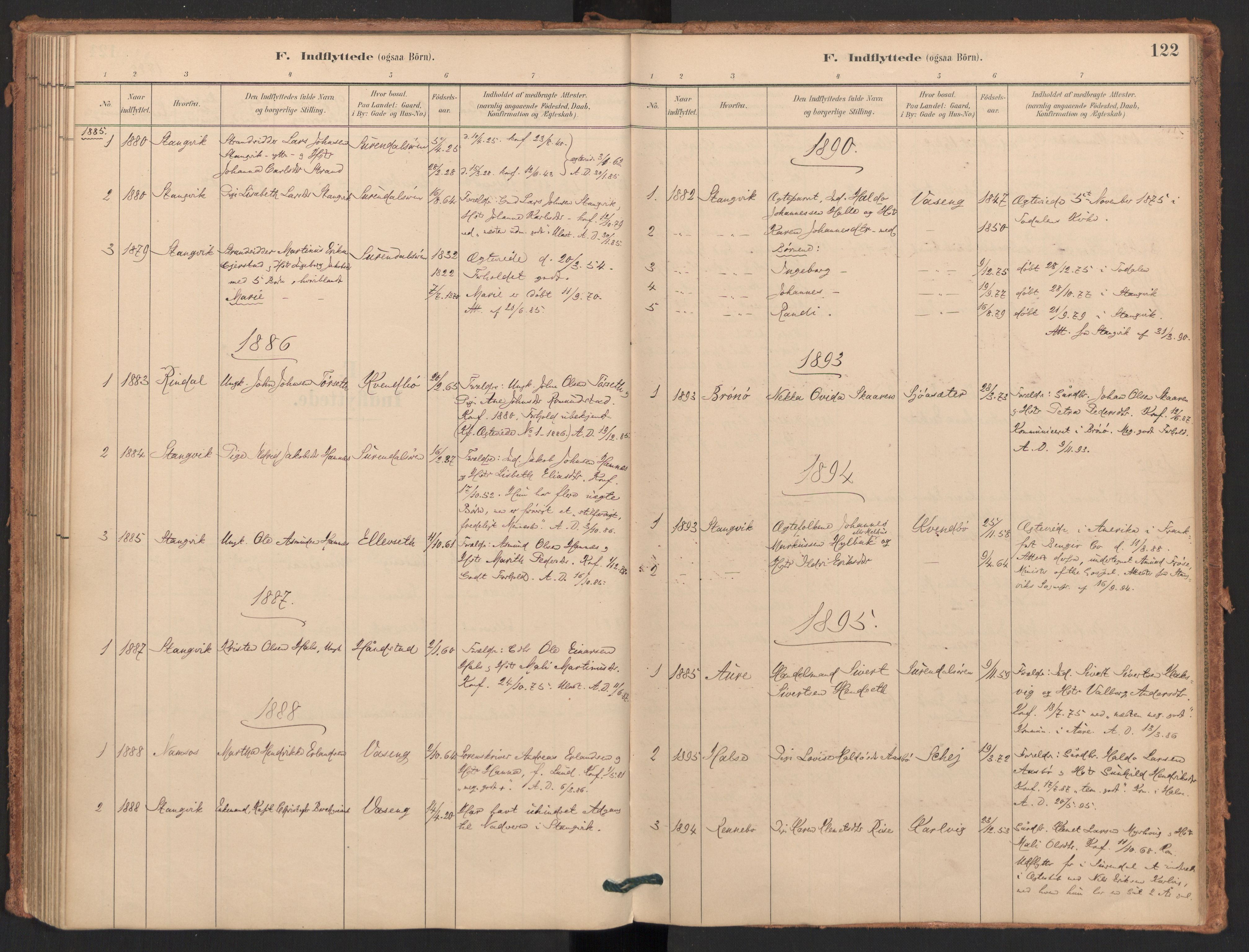 SAT, Ministerialprotokoller, klokkerbøker og fødselsregistre - Møre og Romsdal, 596/L1056: Ministerialbok nr. 596A01, 1885-1900, s. 122