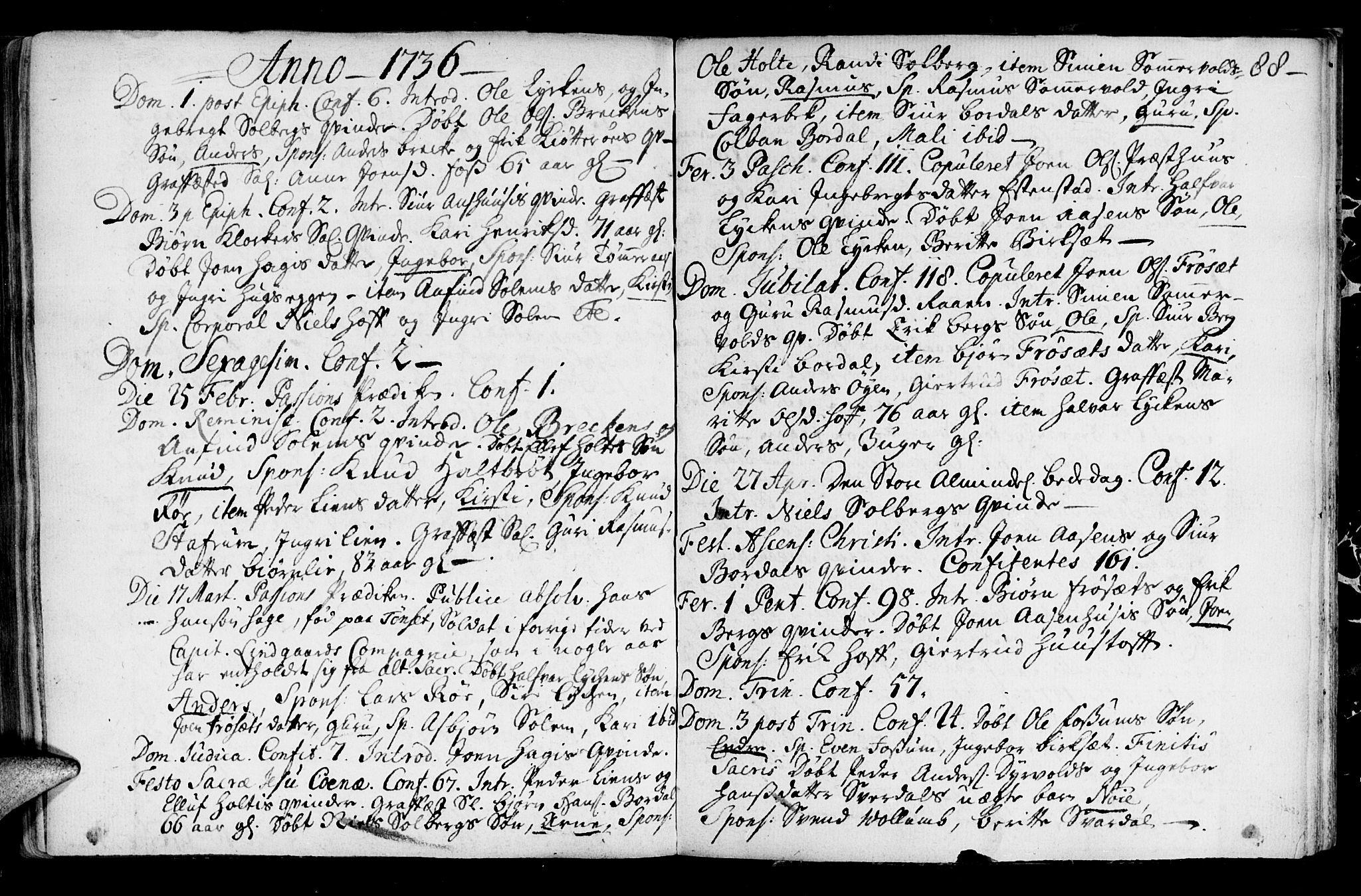 SAT, Ministerialprotokoller, klokkerbøker og fødselsregistre - Sør-Trøndelag, 689/L1036: Ministerialbok nr. 689A01, 1696-1746, s. 88