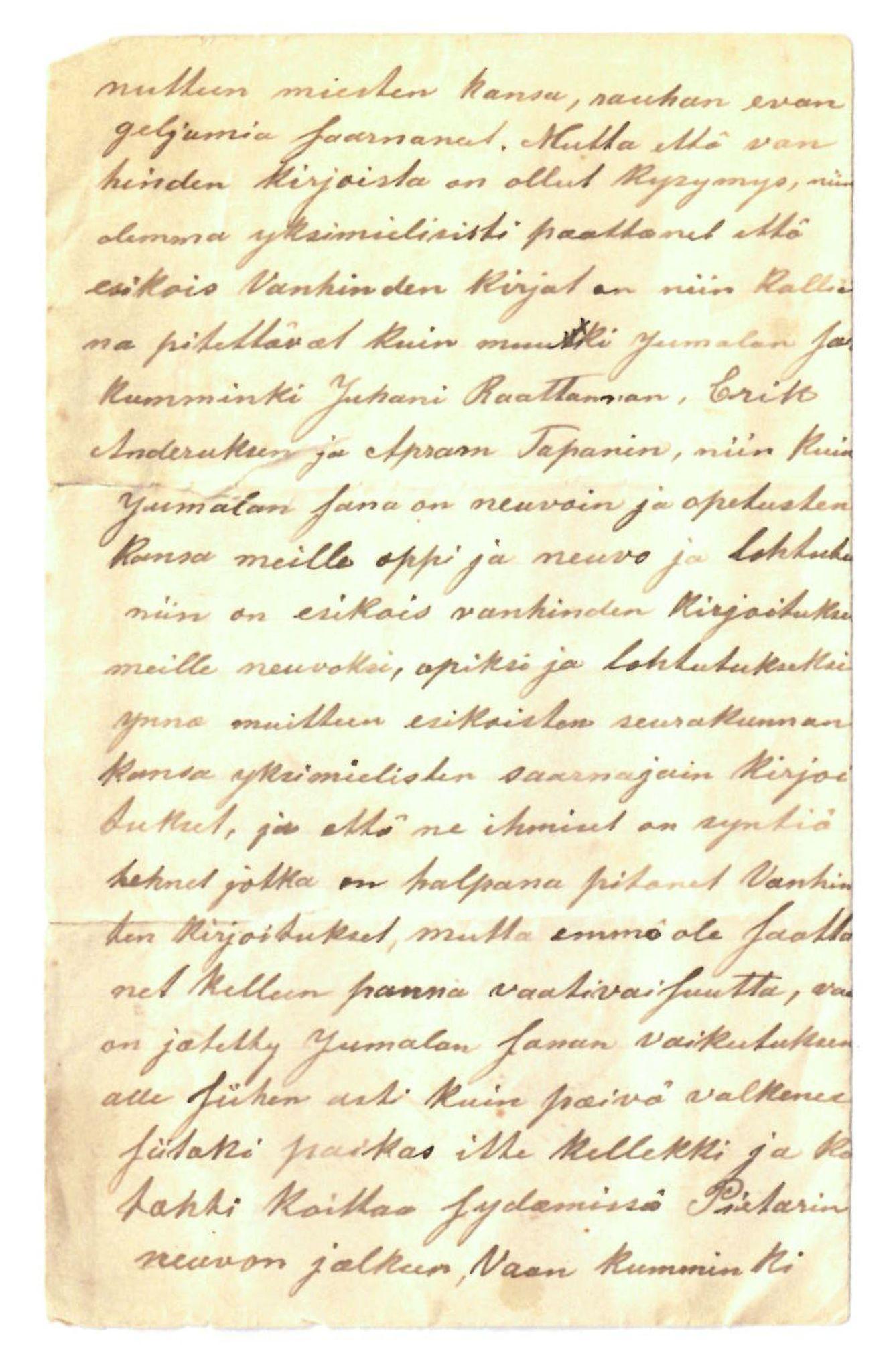 """FMFB, Elise Balos brevsamling, F/Fa/L0007: """"Kirje Norjasta"""" (Brev fra Norge) fra Koskamo et al. til A. Hietanen og A. Tapani (?), 1888"""