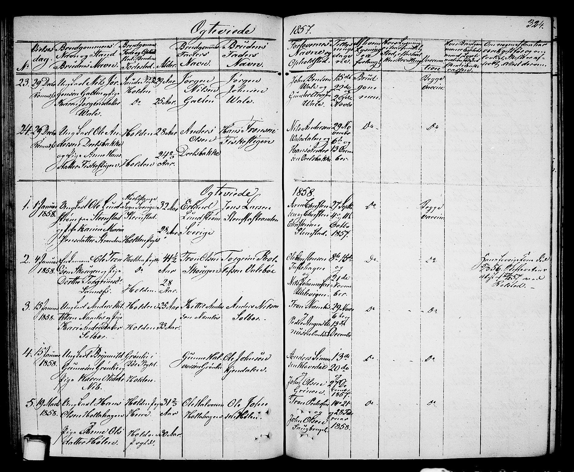 SAKO, Holla kirkebøker, G/Ga/L0003: Klokkerbok nr. I 3, 1849-1866, s. 324