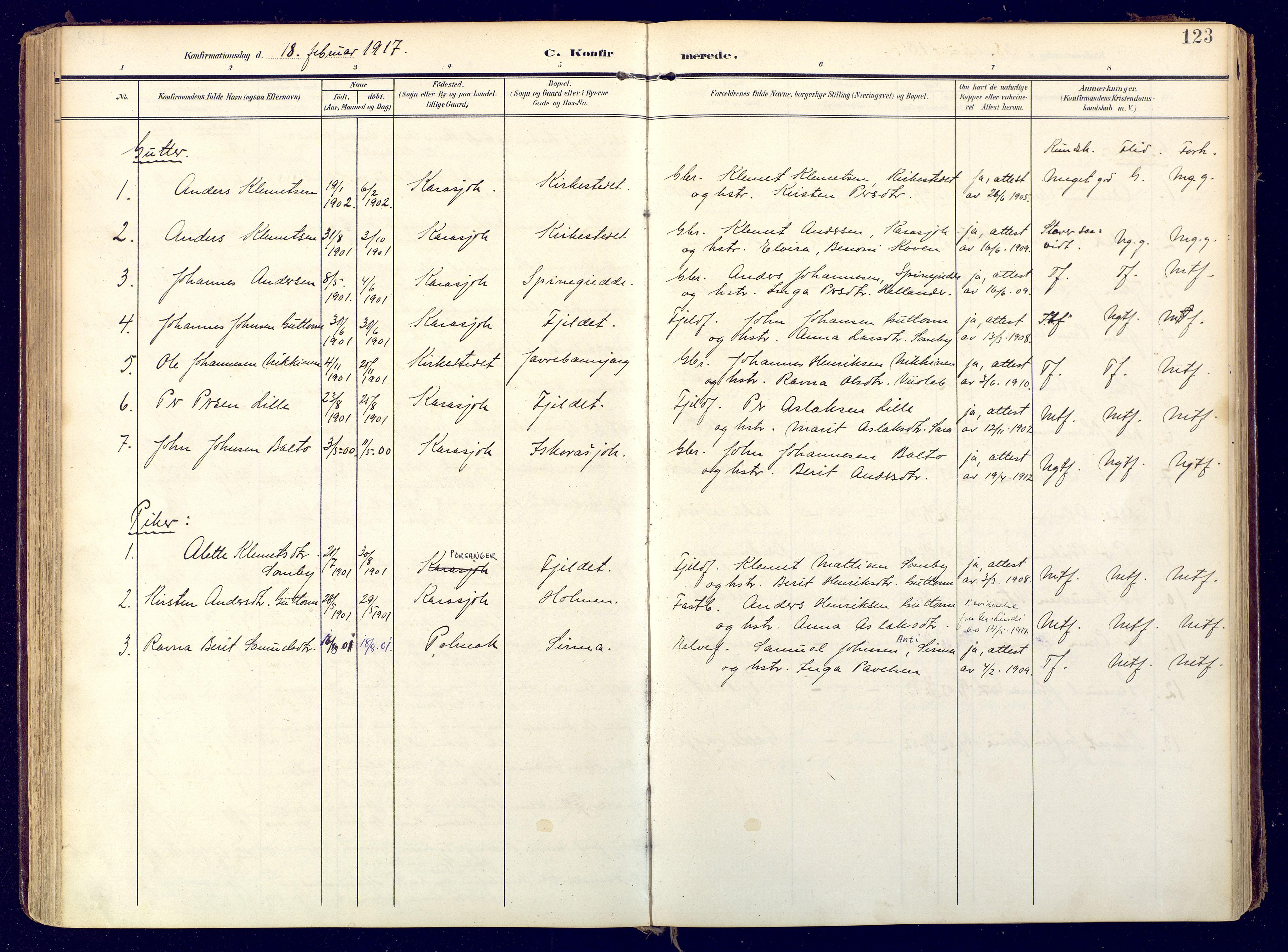 SATØ, Karasjok sokneprestkontor, H/Ha: Ministerialbok nr. 3, 1907-1926, s. 123