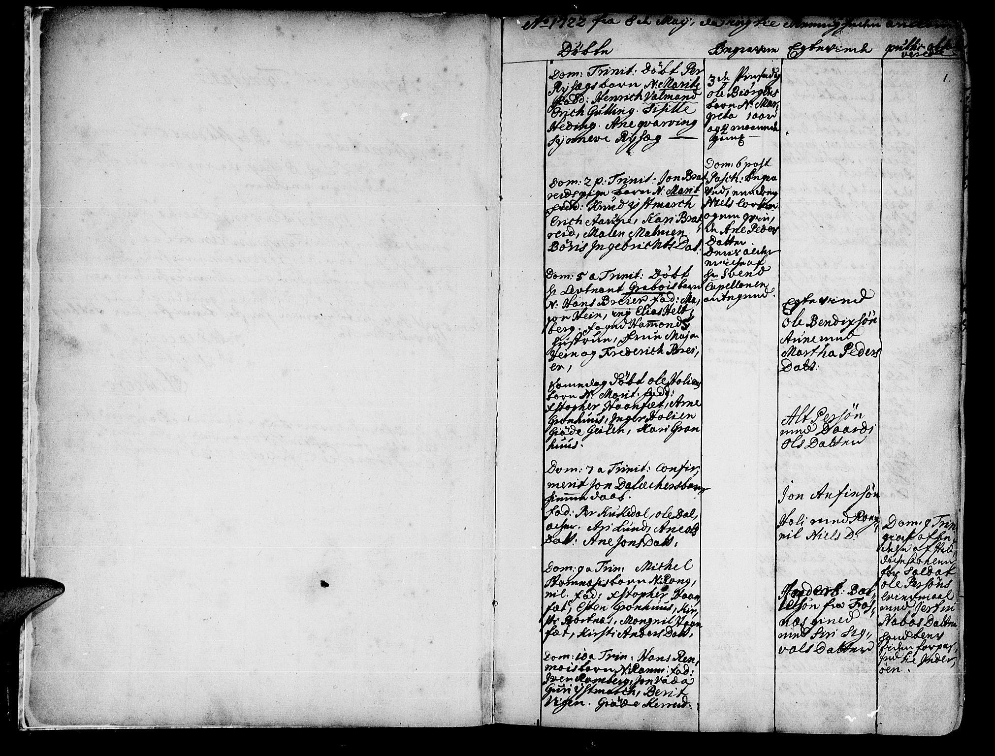 SAT, Ministerialprotokoller, klokkerbøker og fødselsregistre - Nord-Trøndelag, 741/L0385: Ministerialbok nr. 741A01, 1722-1815, s. 1