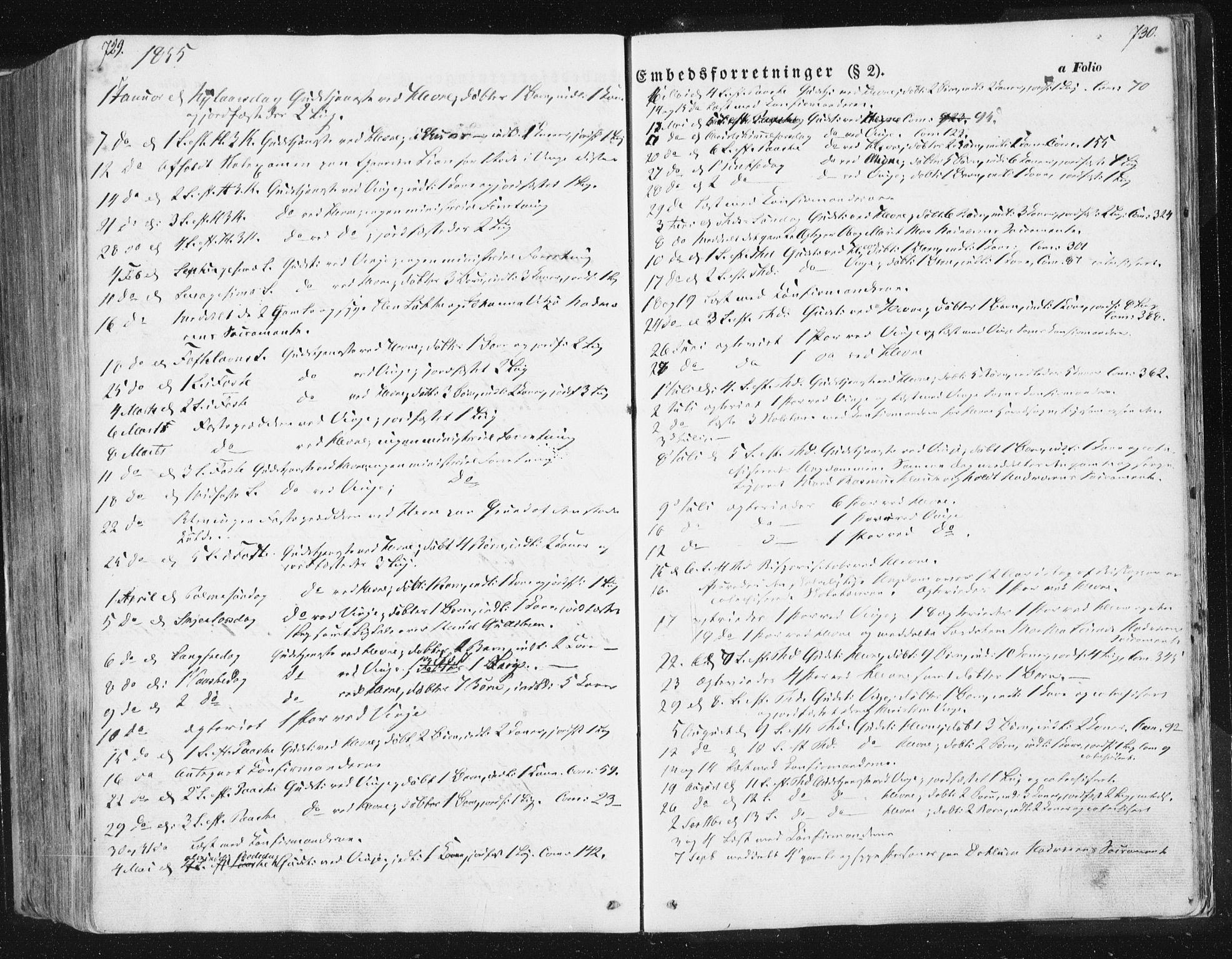 SAT, Ministerialprotokoller, klokkerbøker og fødselsregistre - Sør-Trøndelag, 630/L0494: Ministerialbok nr. 630A07, 1852-1868, s. 729-730