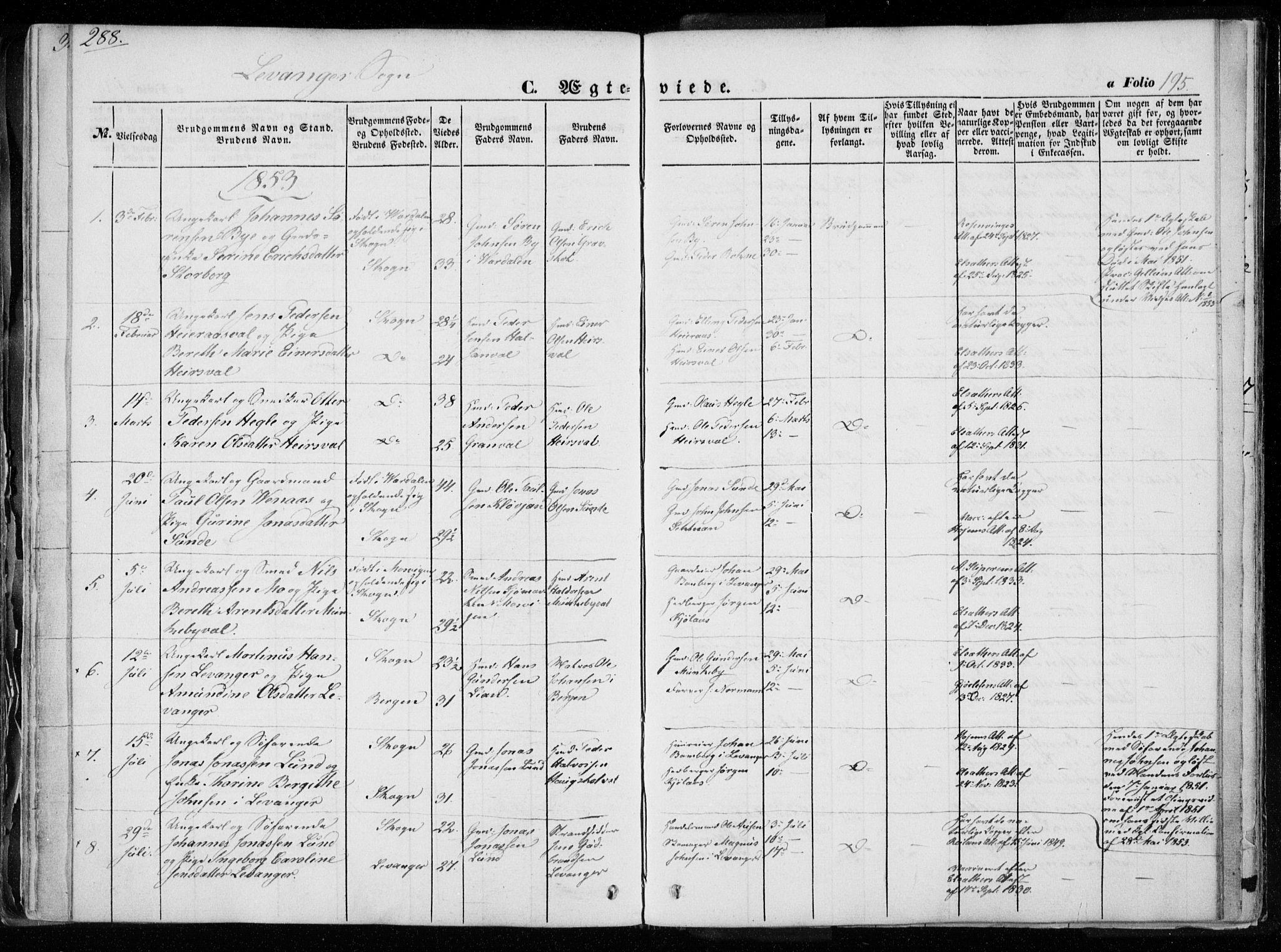 SAT, Ministerialprotokoller, klokkerbøker og fødselsregistre - Nord-Trøndelag, 720/L0183: Ministerialbok nr. 720A01, 1836-1855, s. 195