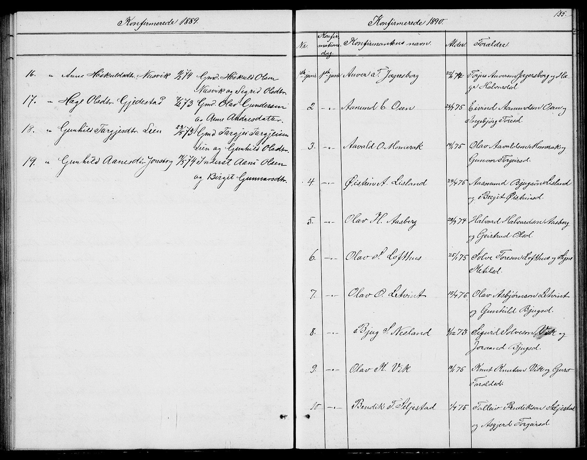 SAKO, Fyresdal kirkebøker, G/Ga/L0004: Klokkerbok nr. I 4, 1864-1892, s. 135