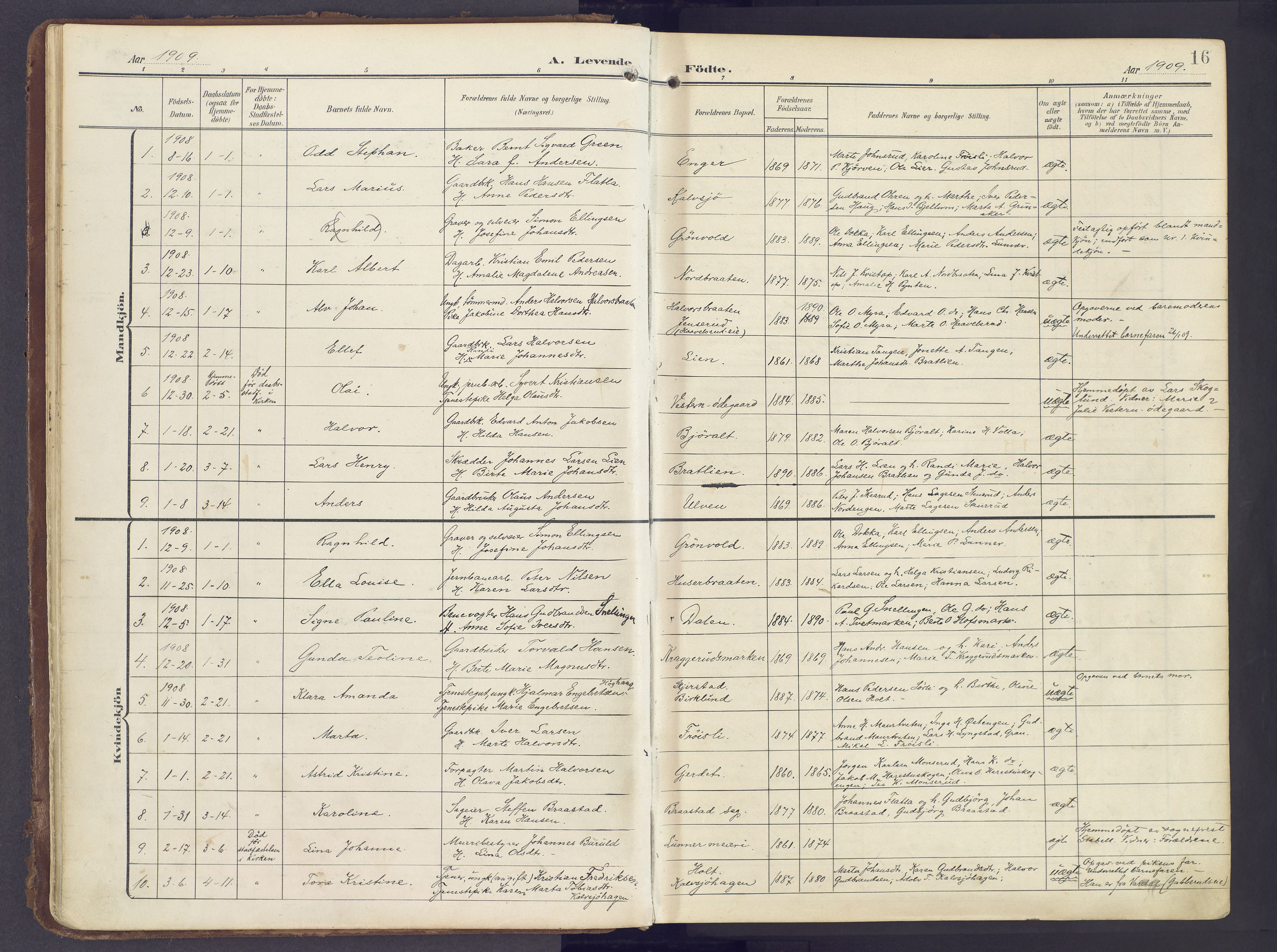 SAH, Lunner prestekontor, H/Ha/Haa/L0001: Ministerialbok nr. 1, 1907-1922, s. 16