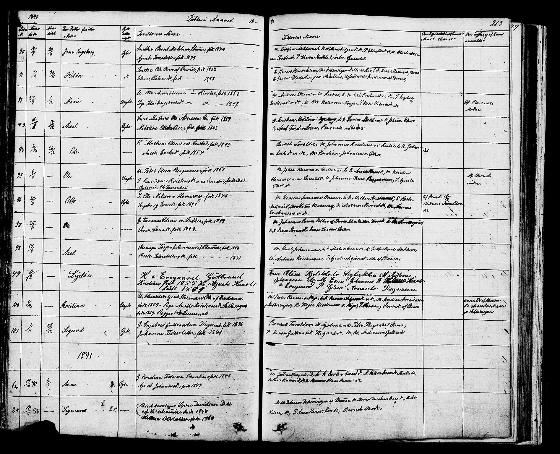 SAH, Fåberg prestekontor, Klokkerbok nr. 7, 1856-1891, s. 212-213