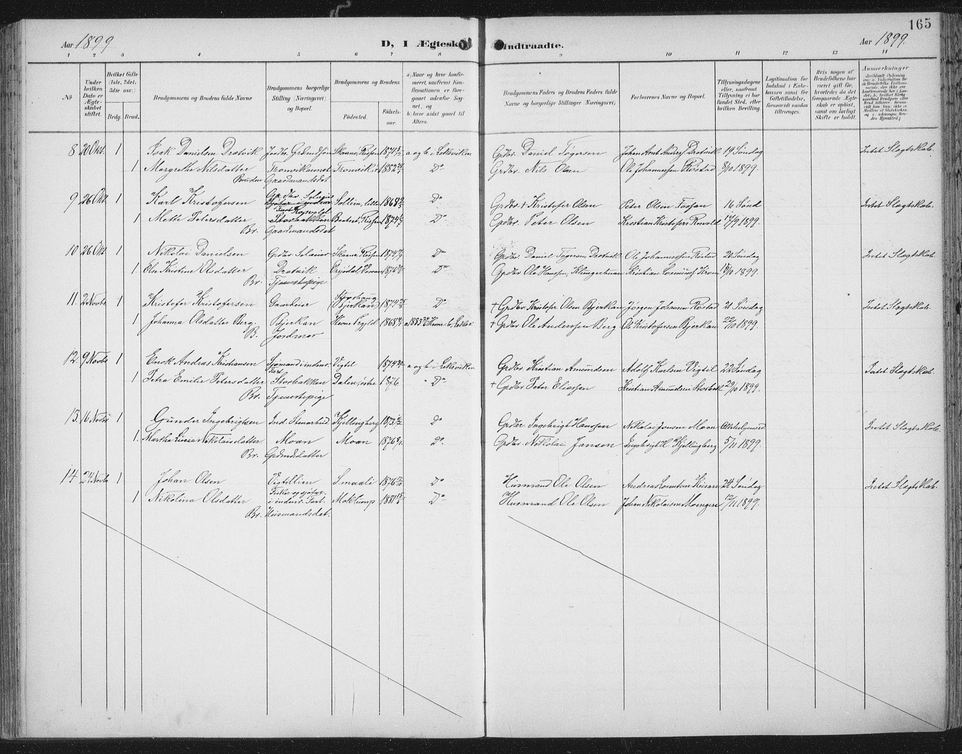 SAT, Ministerialprotokoller, klokkerbøker og fødselsregistre - Nord-Trøndelag, 701/L0011: Ministerialbok nr. 701A11, 1899-1915, s. 165