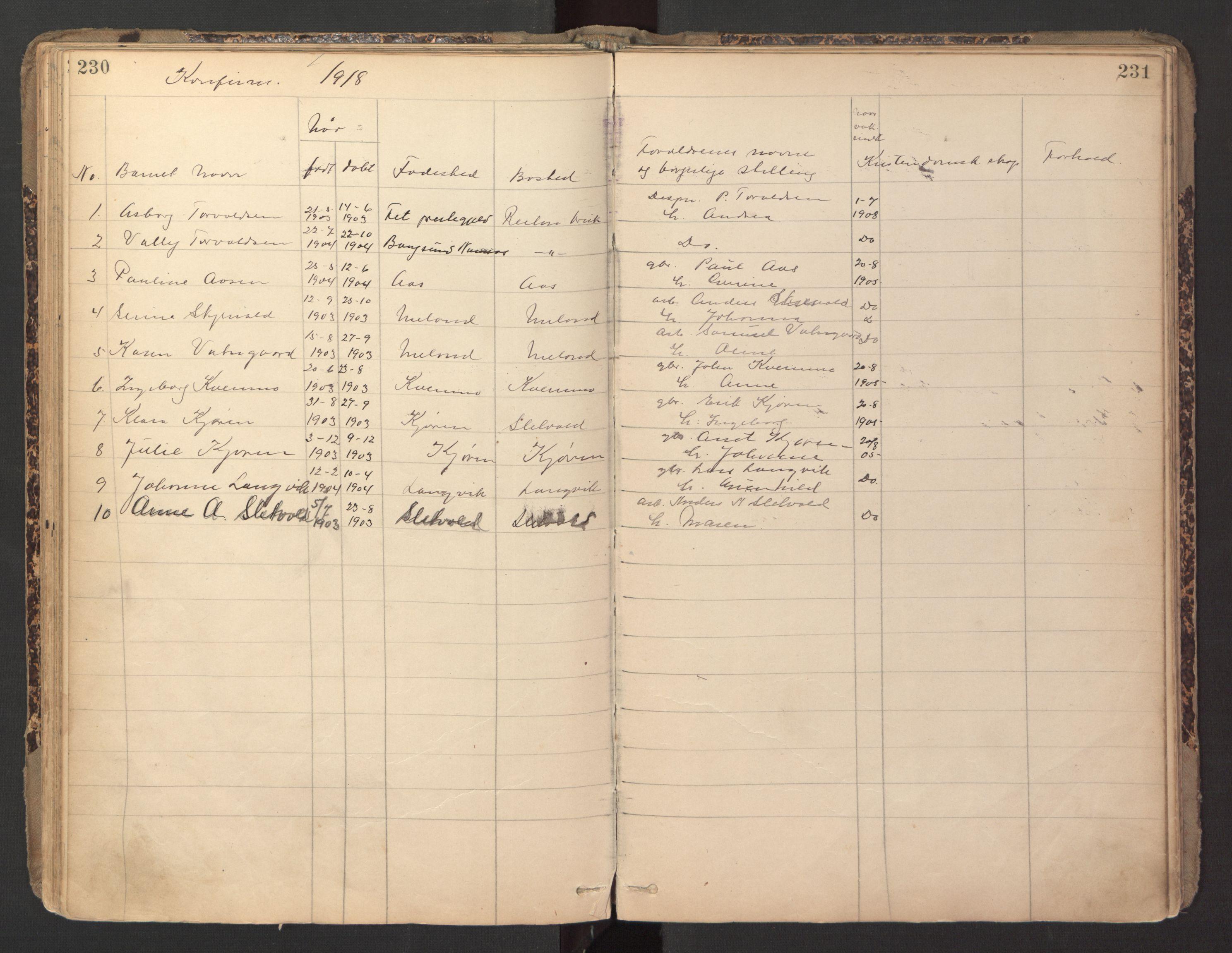 SAT, Ministerialprotokoller, klokkerbøker og fødselsregistre - Sør-Trøndelag, 670/L0837: Klokkerbok nr. 670C01, 1905-1946, s. 230-231