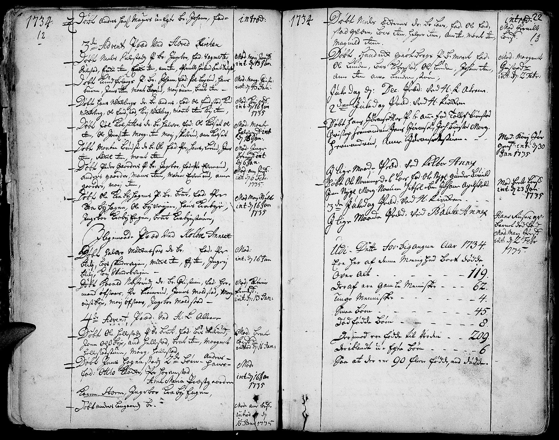 SAH, Toten prestekontor, Ministerialbok nr. 3, 1734-1751, s. 12-13