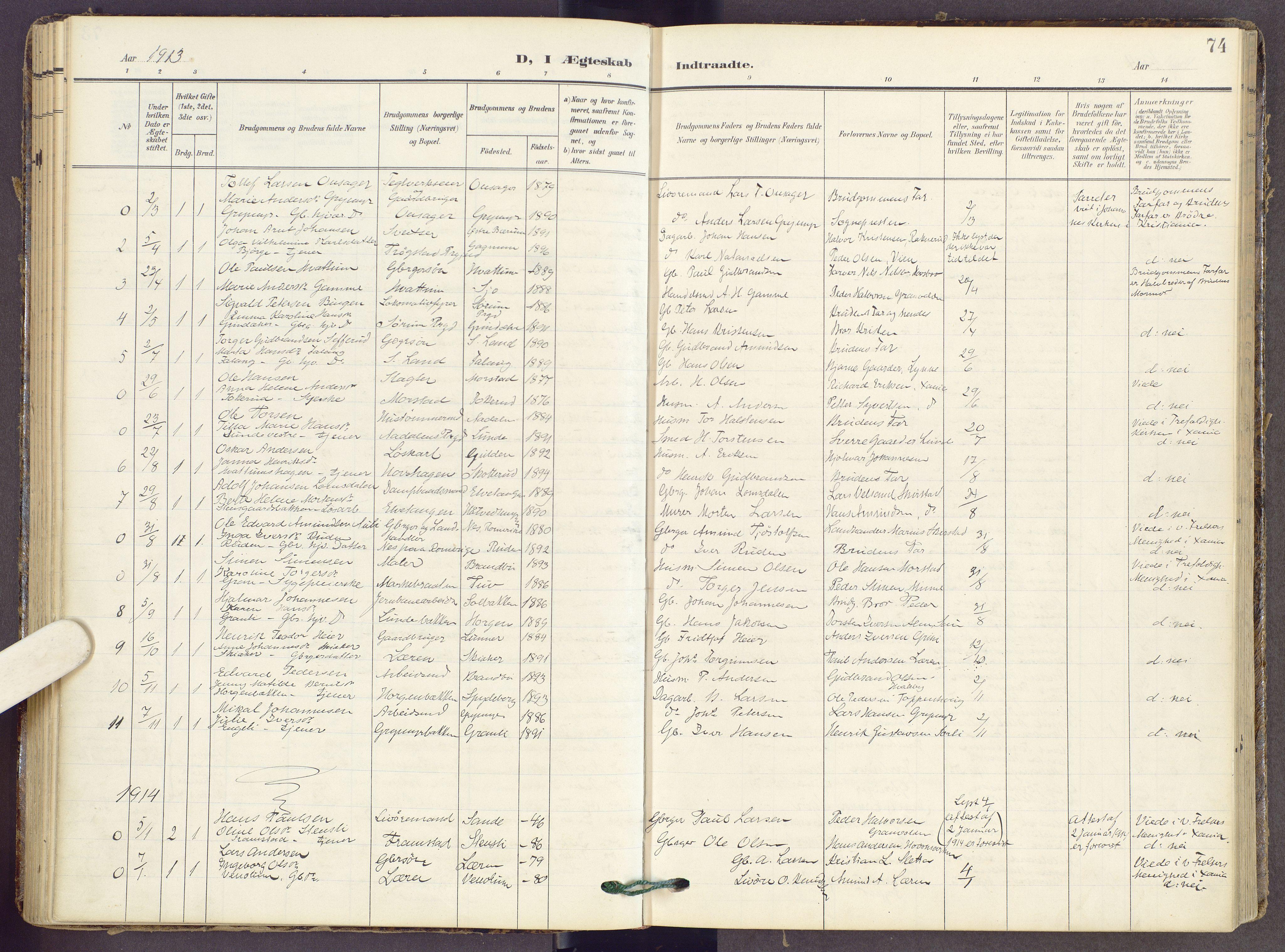 SAH, Gran prestekontor, Ministerialbok nr. 22, 1908-1918, s. 74