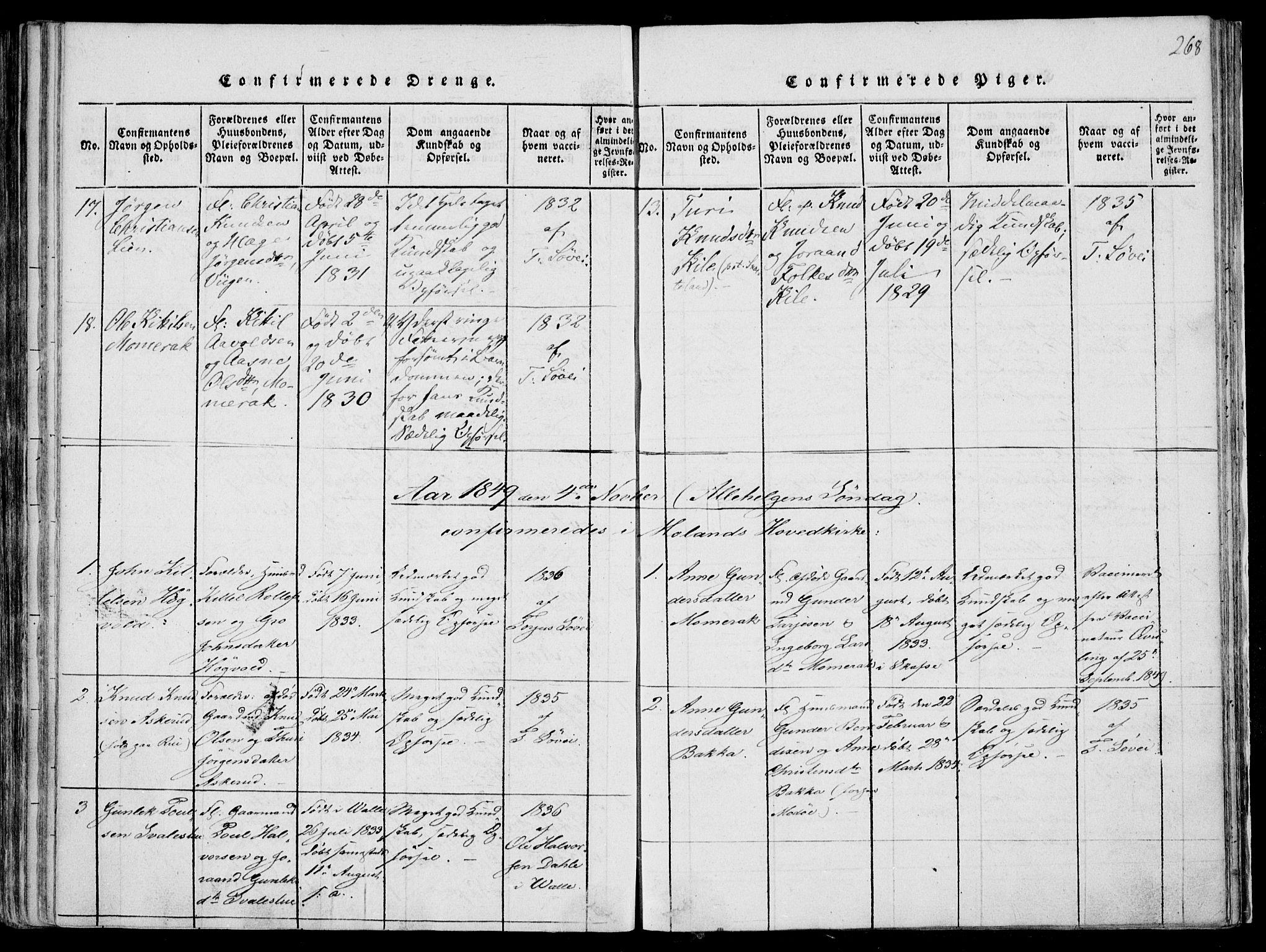 SAKO, Fyresdal kirkebøker, F/Fa/L0004: Ministerialbok nr. I 4, 1815-1854, s. 268