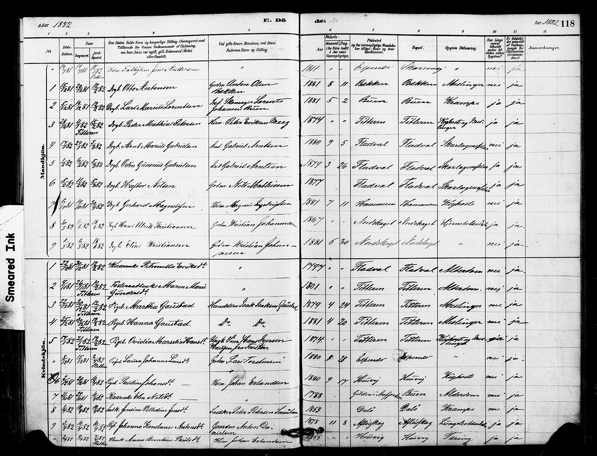 SAT, Ministerialprotokoller, klokkerbøker og fødselsregistre - Sør-Trøndelag, 641/L0595: Ministerialbok nr. 641A01, 1882-1897, s. 118