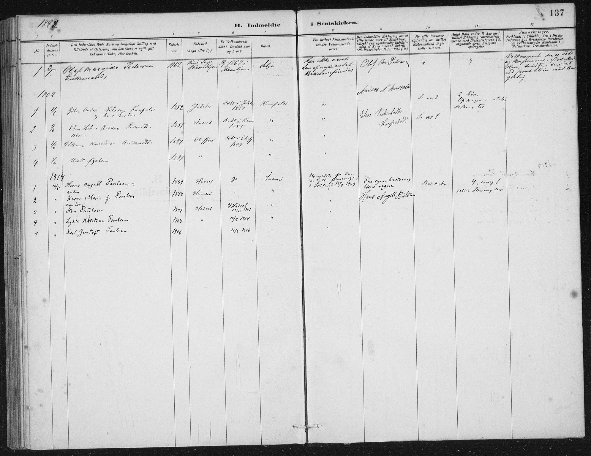SAB, Kinn sokneprestembete, H/Haa/Haae/L0001: Ministerialbok nr. E 1, 1890-1916, s. 137