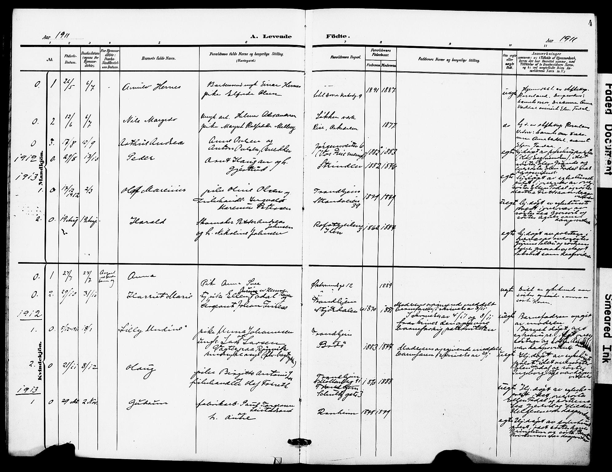 SAT, Ministerialprotokoller, klokkerbøker og fødselsregistre - Sør-Trøndelag, 628/L0483: Ministerialbok nr. 628A01, 1902-1920, s. 4