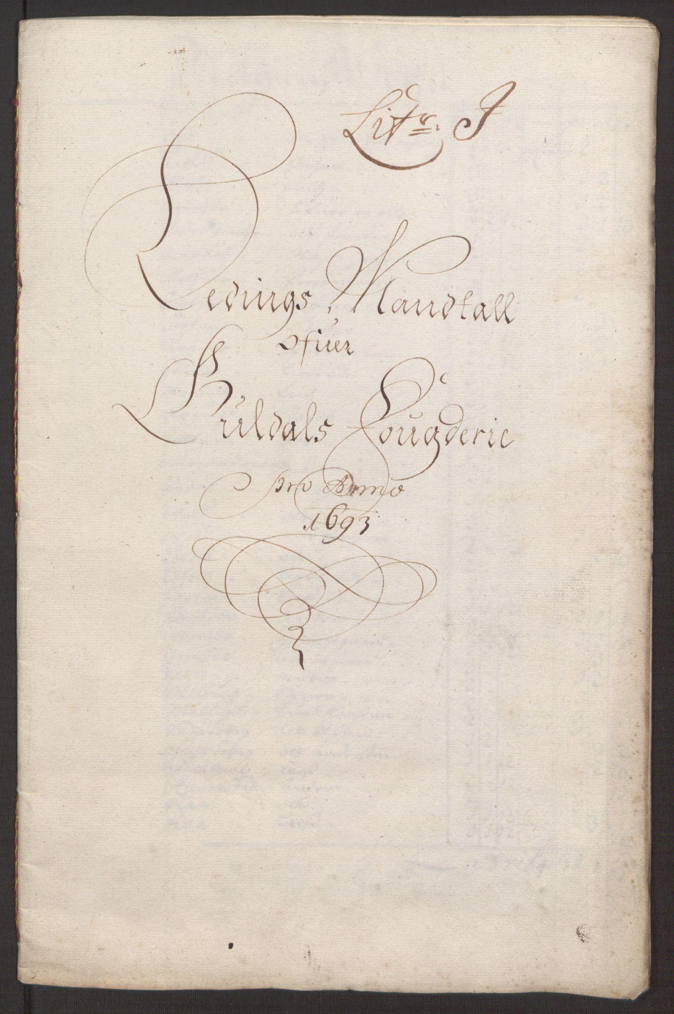 RA, Rentekammeret inntil 1814, Reviderte regnskaper, Fogderegnskap, R59/L3943: Fogderegnskap Gauldal, 1693, s. 125