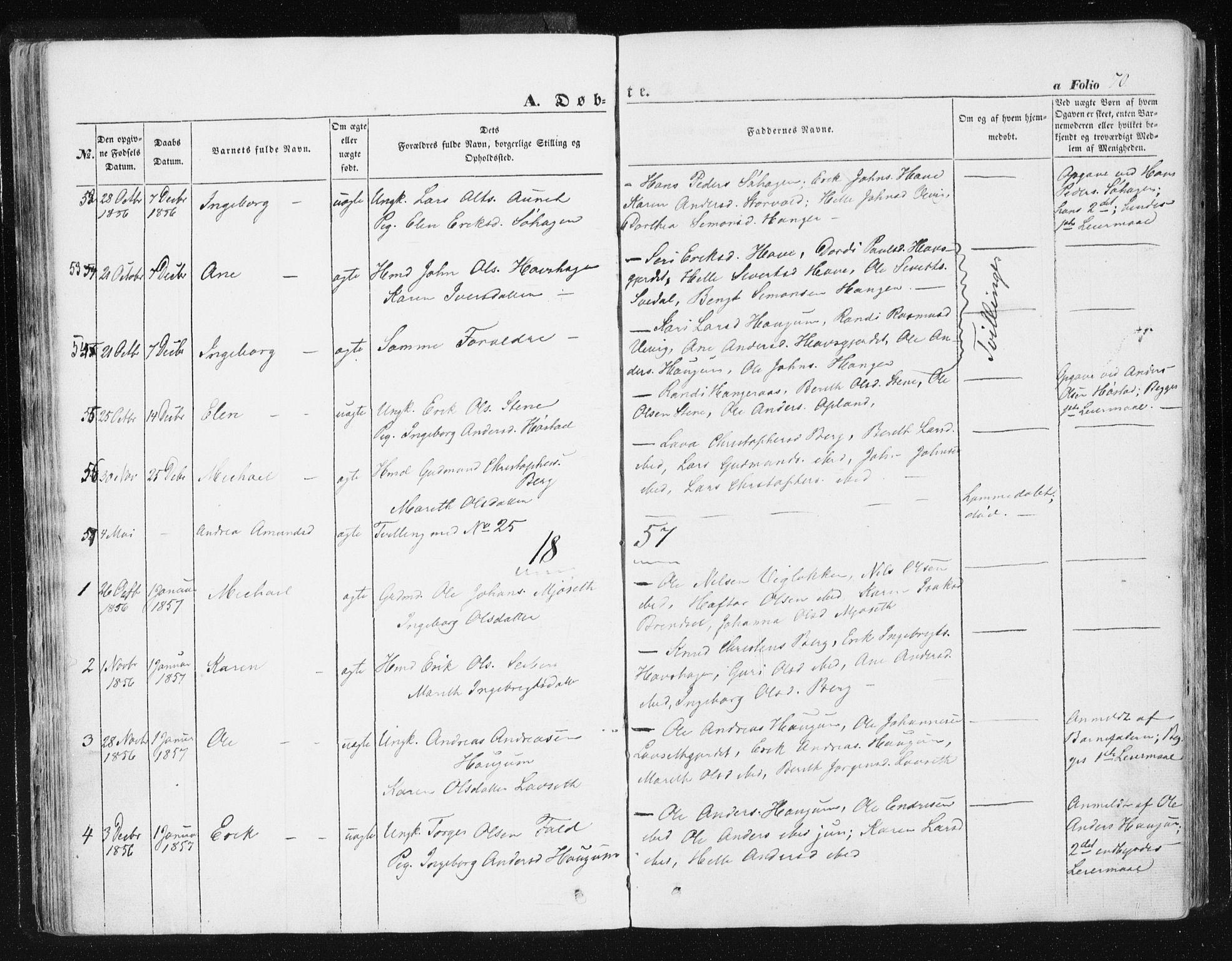 SAT, Ministerialprotokoller, klokkerbøker og fødselsregistre - Sør-Trøndelag, 612/L0376: Ministerialbok nr. 612A08, 1846-1859, s. 70