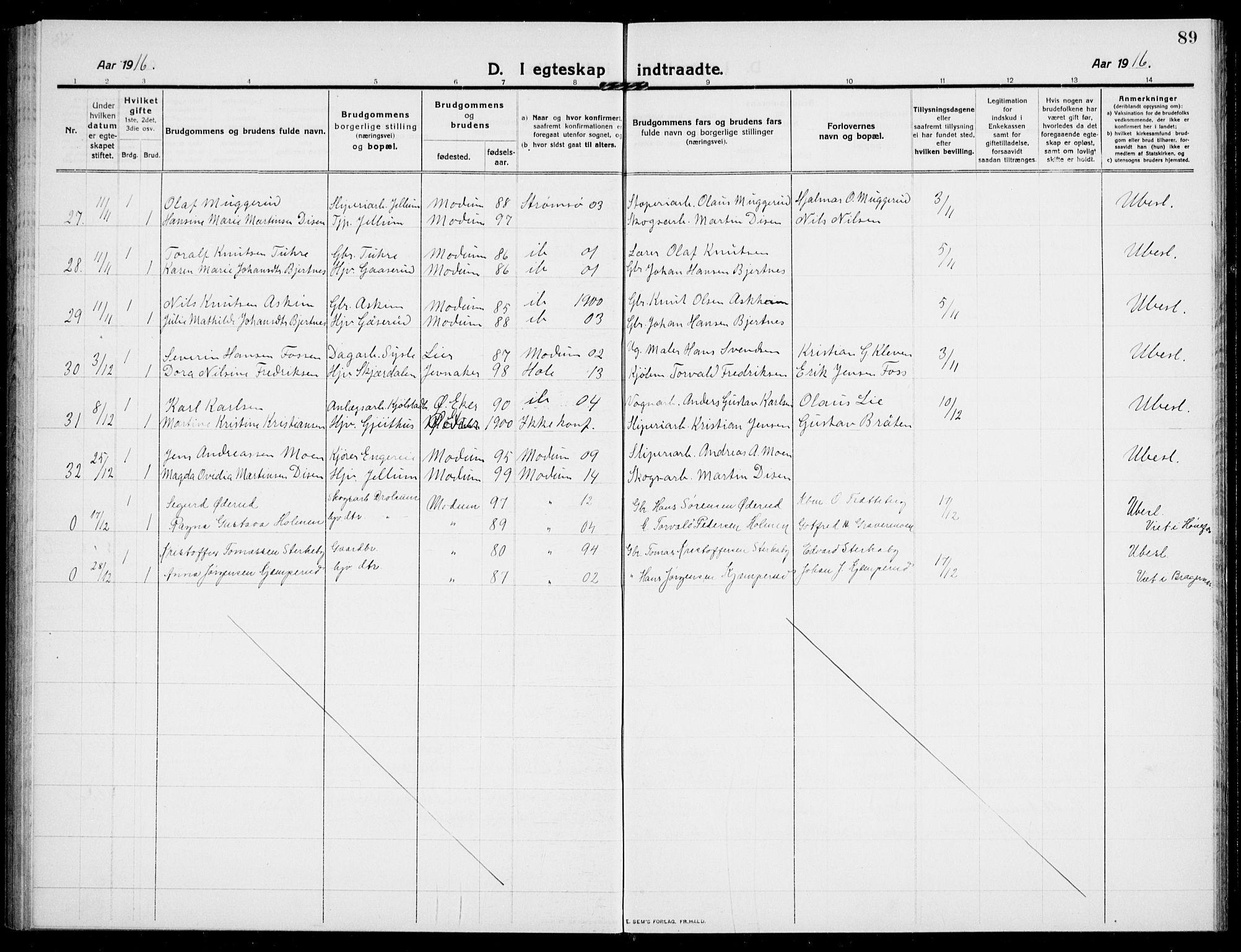 SAKO, Modum kirkebøker, G/Ga/L0010: Klokkerbok nr. I 10, 1909-1923, s. 89