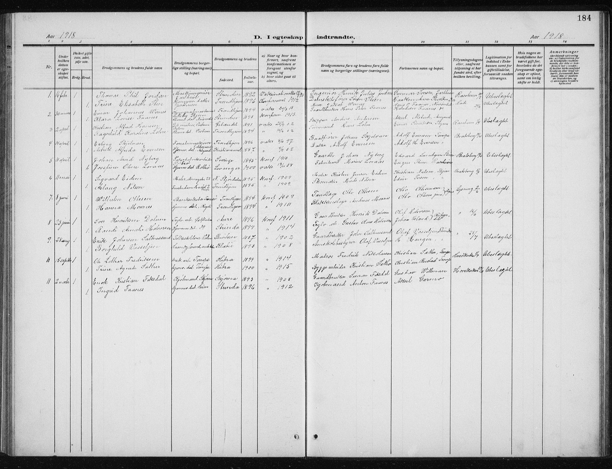 SAT, Ministerialprotokoller, klokkerbøker og fødselsregistre - Sør-Trøndelag, 606/L0314: Klokkerbok nr. 606C10, 1911-1937, s. 184