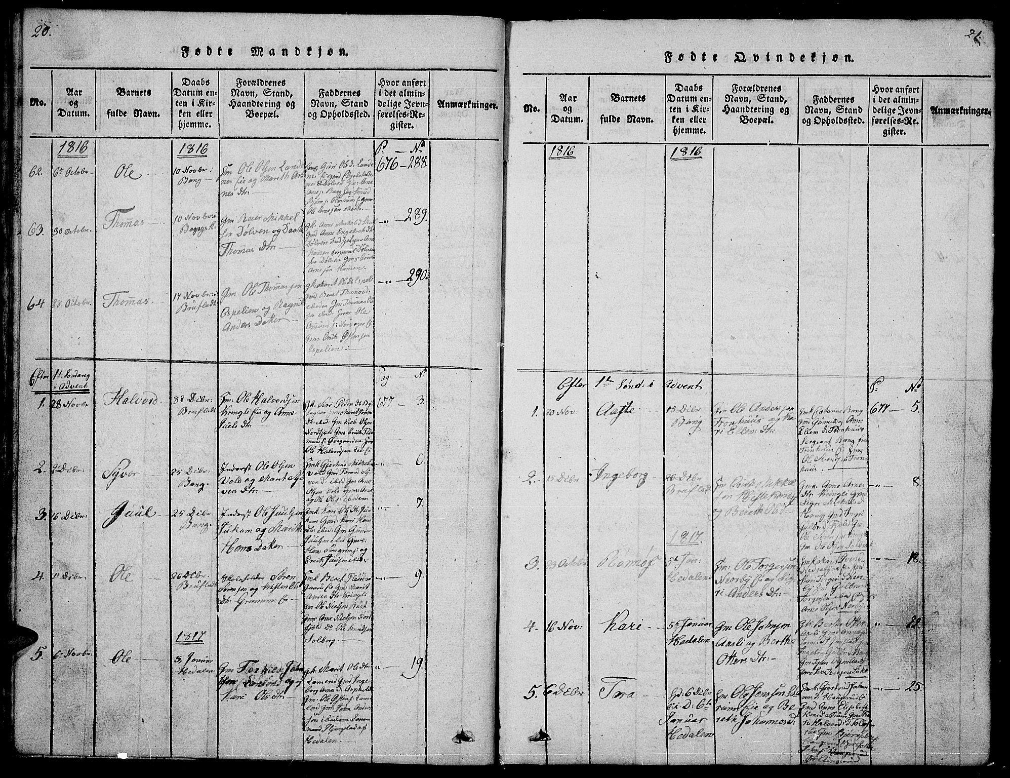 SAH, Sør-Aurdal prestekontor, Klokkerbok nr. 1, 1815-1826, s. 20-21
