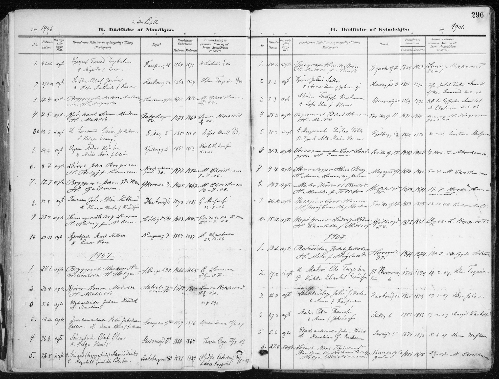 SAO, Kampen prestekontor Kirkebøker, F/Fa/L0010: Ministerialbok nr. I 10, 1905-1917, s. 296