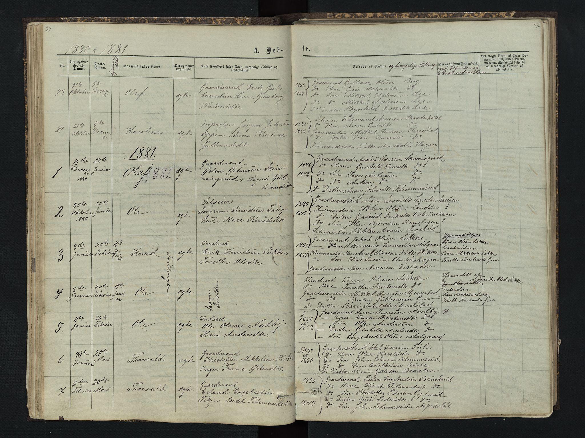 SAH, Sør-Aurdal prestekontor, Klokkerbok nr. 4, 1865-1893, s. 34