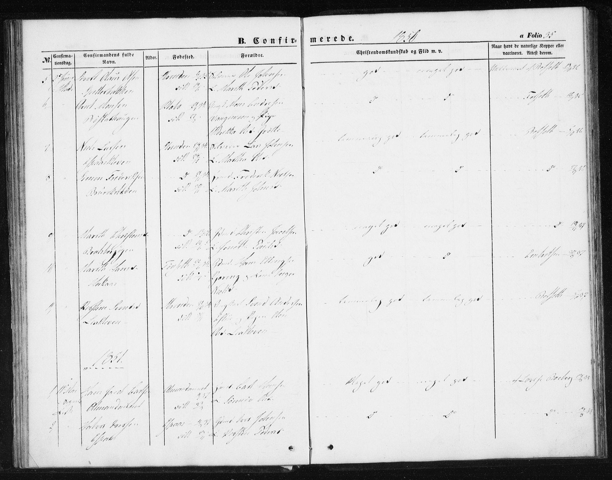 SAT, Ministerialprotokoller, klokkerbøker og fødselsregistre - Sør-Trøndelag, 608/L0332: Ministerialbok nr. 608A01, 1848-1861, s. 35