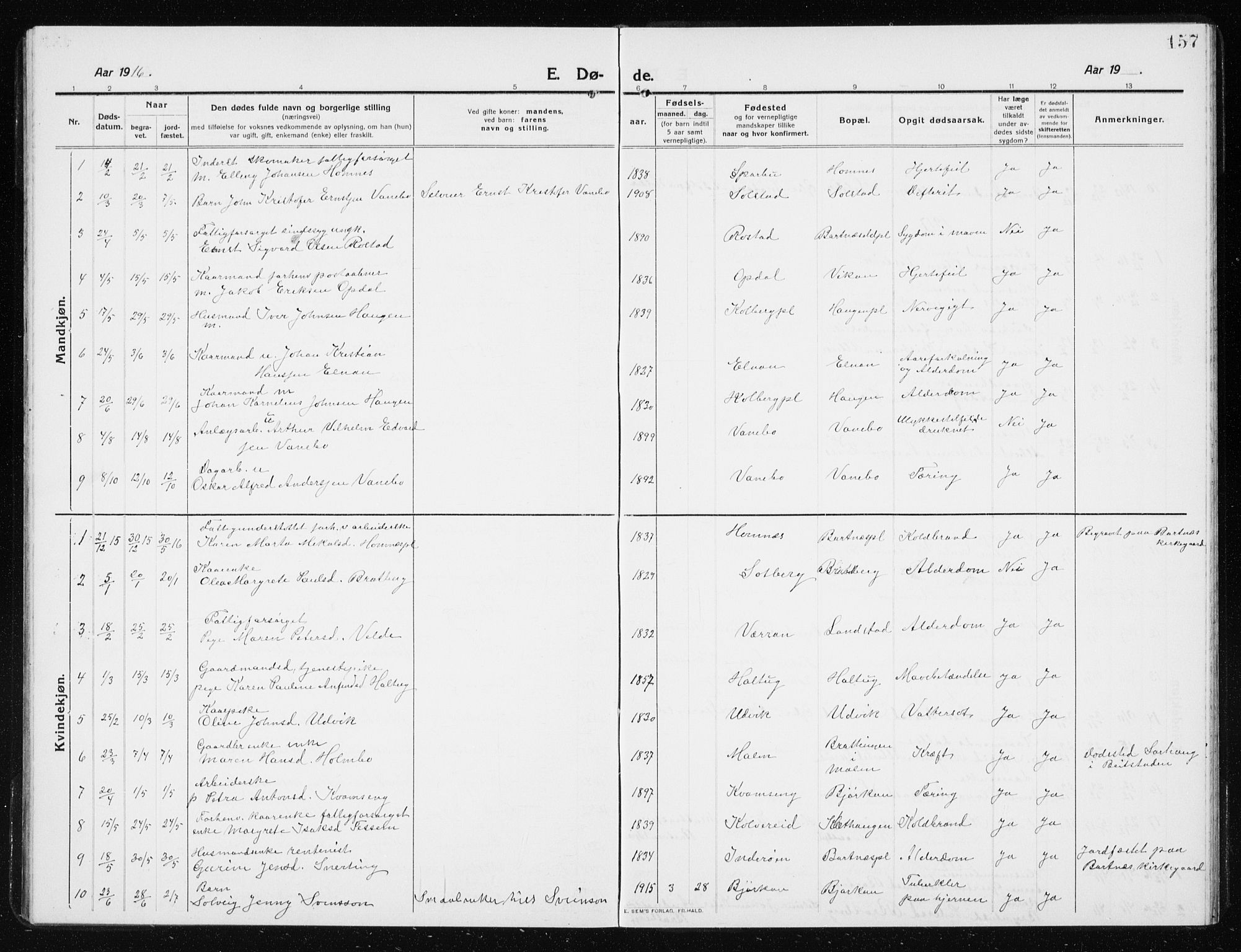SAT, Ministerialprotokoller, klokkerbøker og fødselsregistre - Nord-Trøndelag, 741/L0402: Klokkerbok nr. 741C03, 1911-1926, s. 157