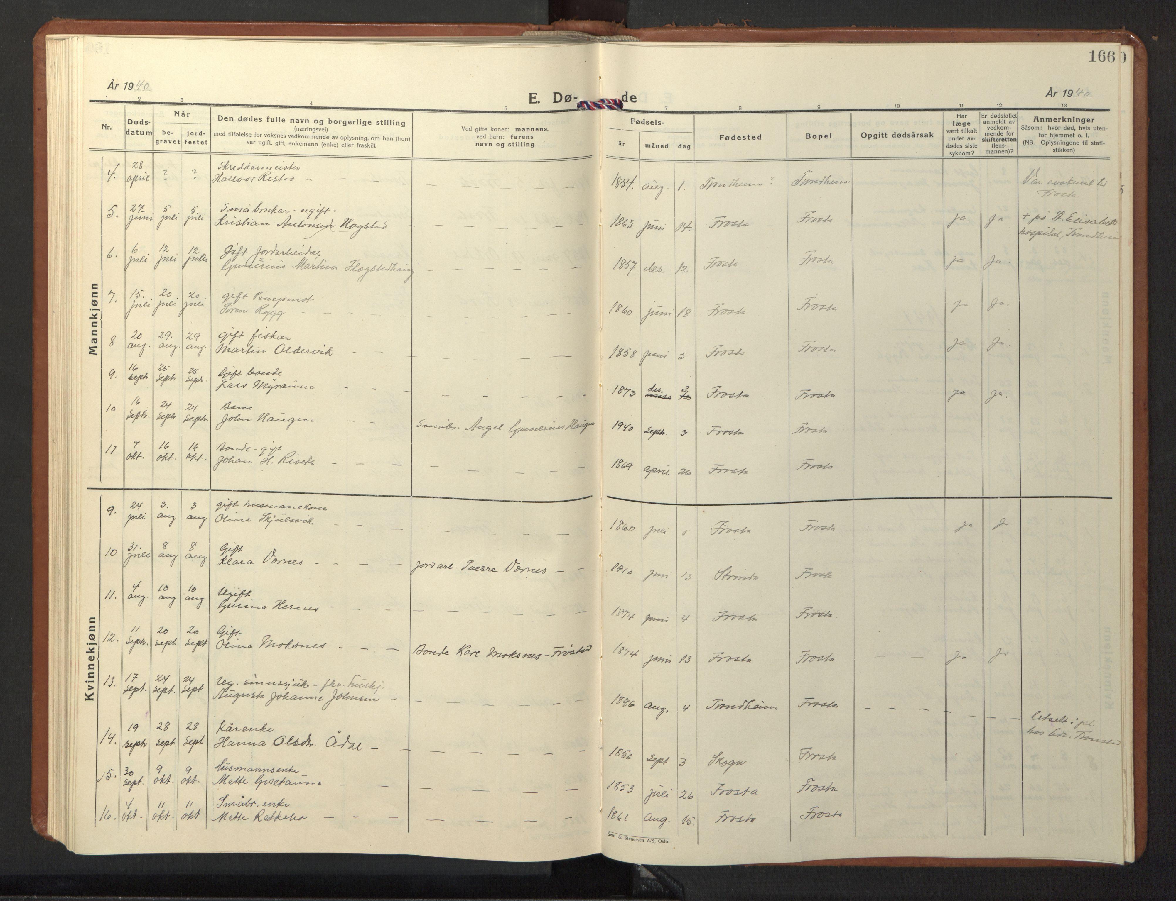 SAT, Ministerialprotokoller, klokkerbøker og fødselsregistre - Nord-Trøndelag, 713/L0125: Klokkerbok nr. 713C02, 1931-1941, s. 166