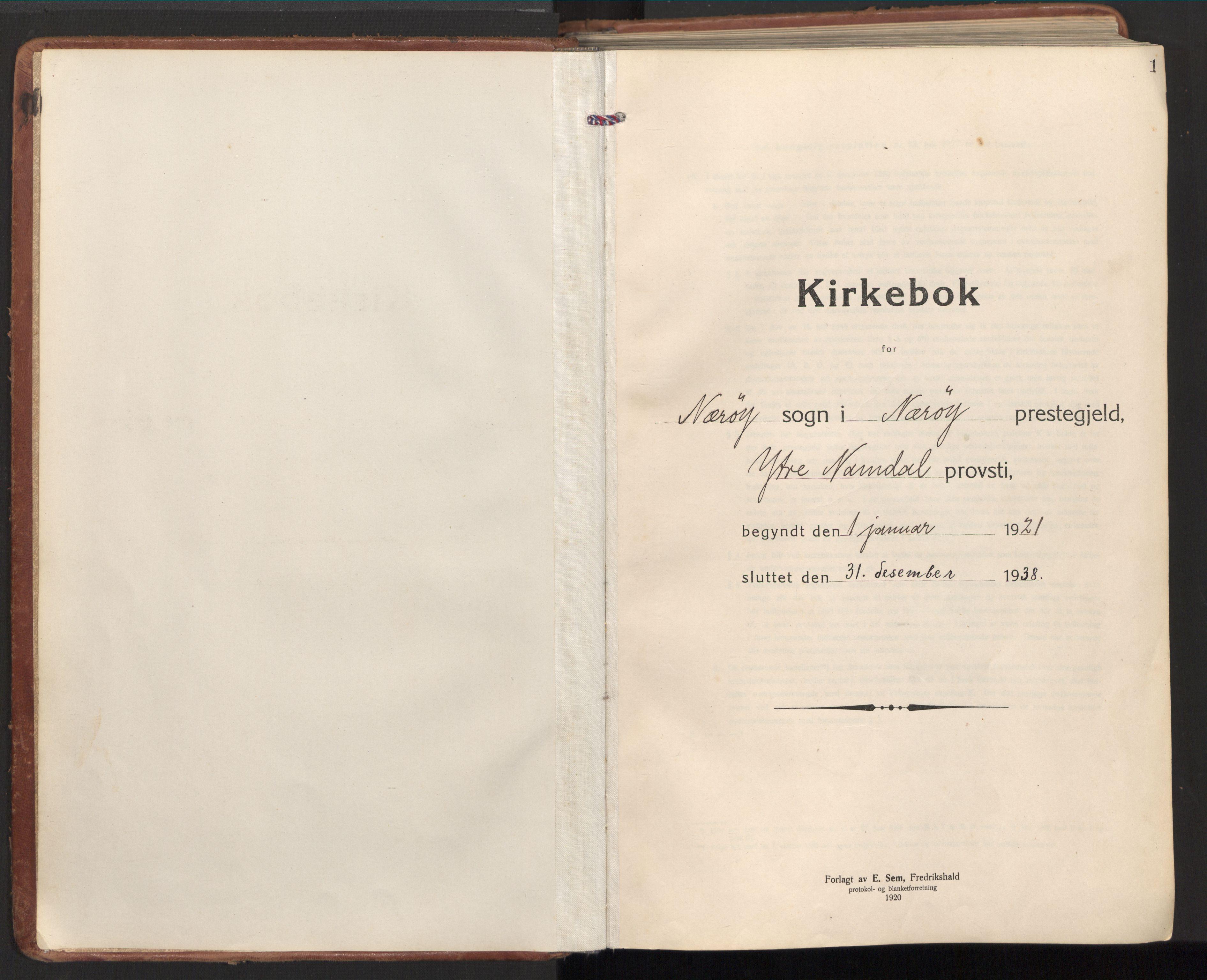 SAT, Ministerialprotokoller, klokkerbøker og fødselsregistre - Nord-Trøndelag, 784/L0678: Ministerialbok nr. 784A13, 1921-1938, s. 1