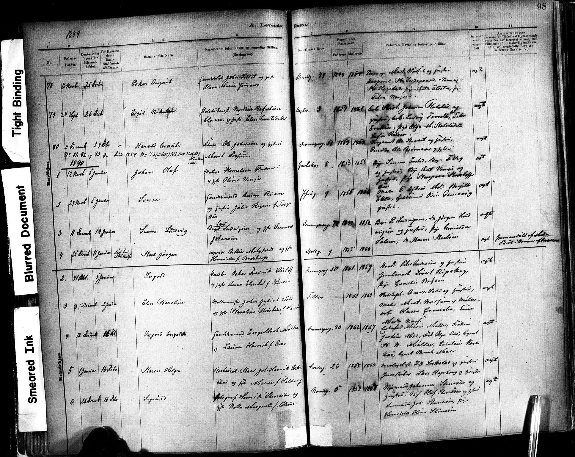 SAT, Ministerialprotokoller, klokkerbøker og fødselsregistre - Sør-Trøndelag, 602/L0119: Ministerialbok nr. 602A17, 1880-1901, s. 98