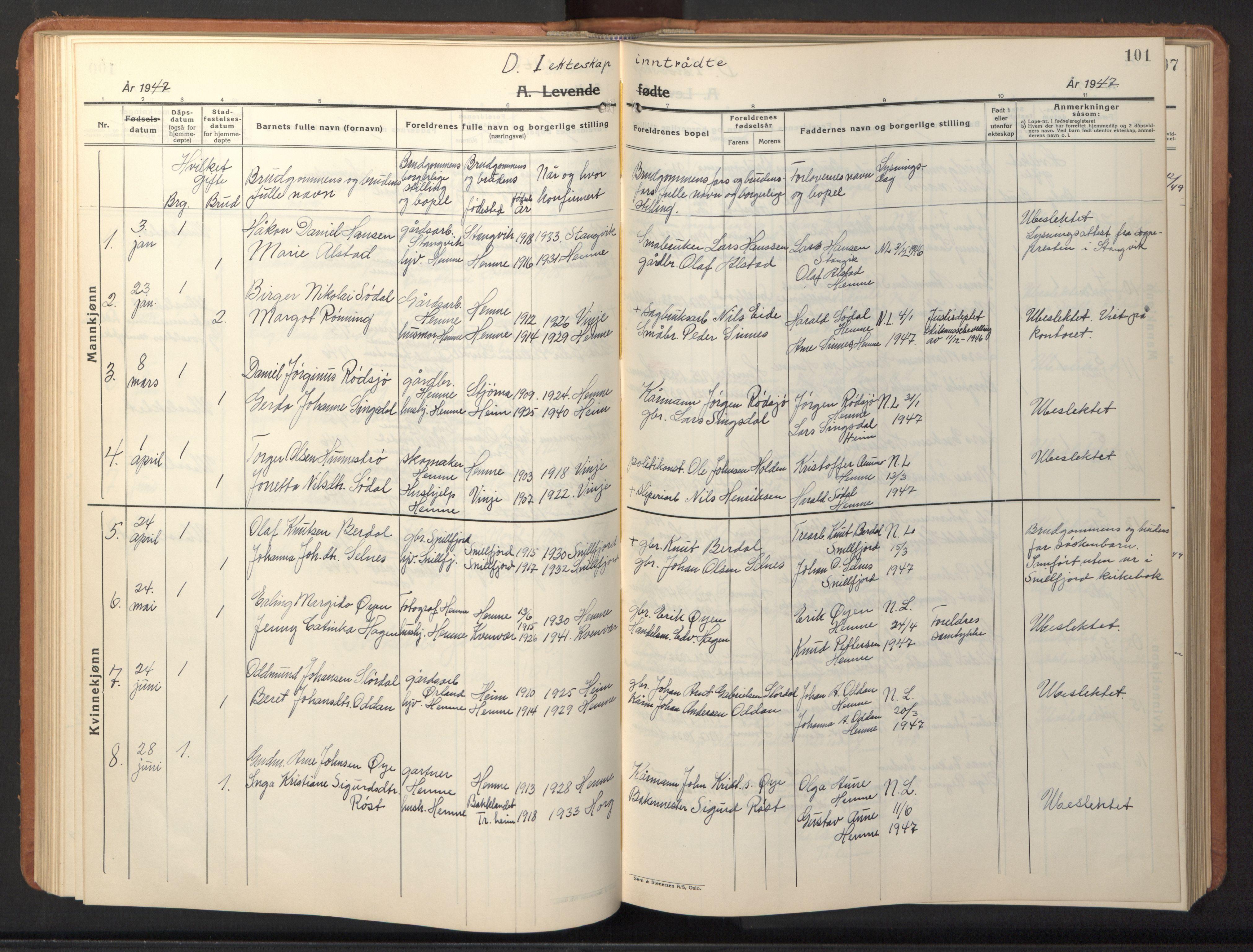 SAT, Ministerialprotokoller, klokkerbøker og fødselsregistre - Sør-Trøndelag, 630/L0508: Klokkerbok nr. 630C06, 1933-1950, s. 101