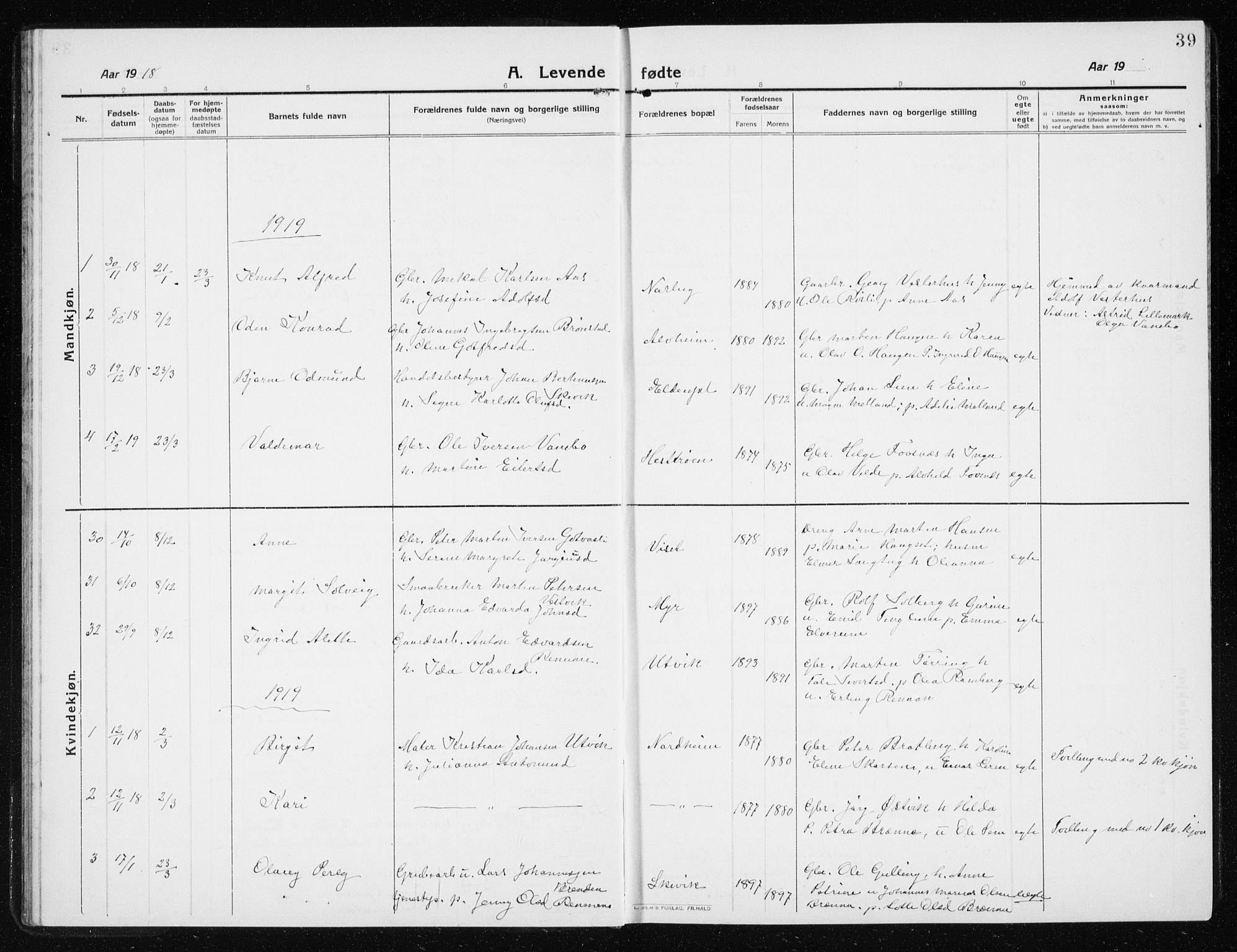 SAT, Ministerialprotokoller, klokkerbøker og fødselsregistre - Nord-Trøndelag, 741/L0402: Klokkerbok nr. 741C03, 1911-1926, s. 39