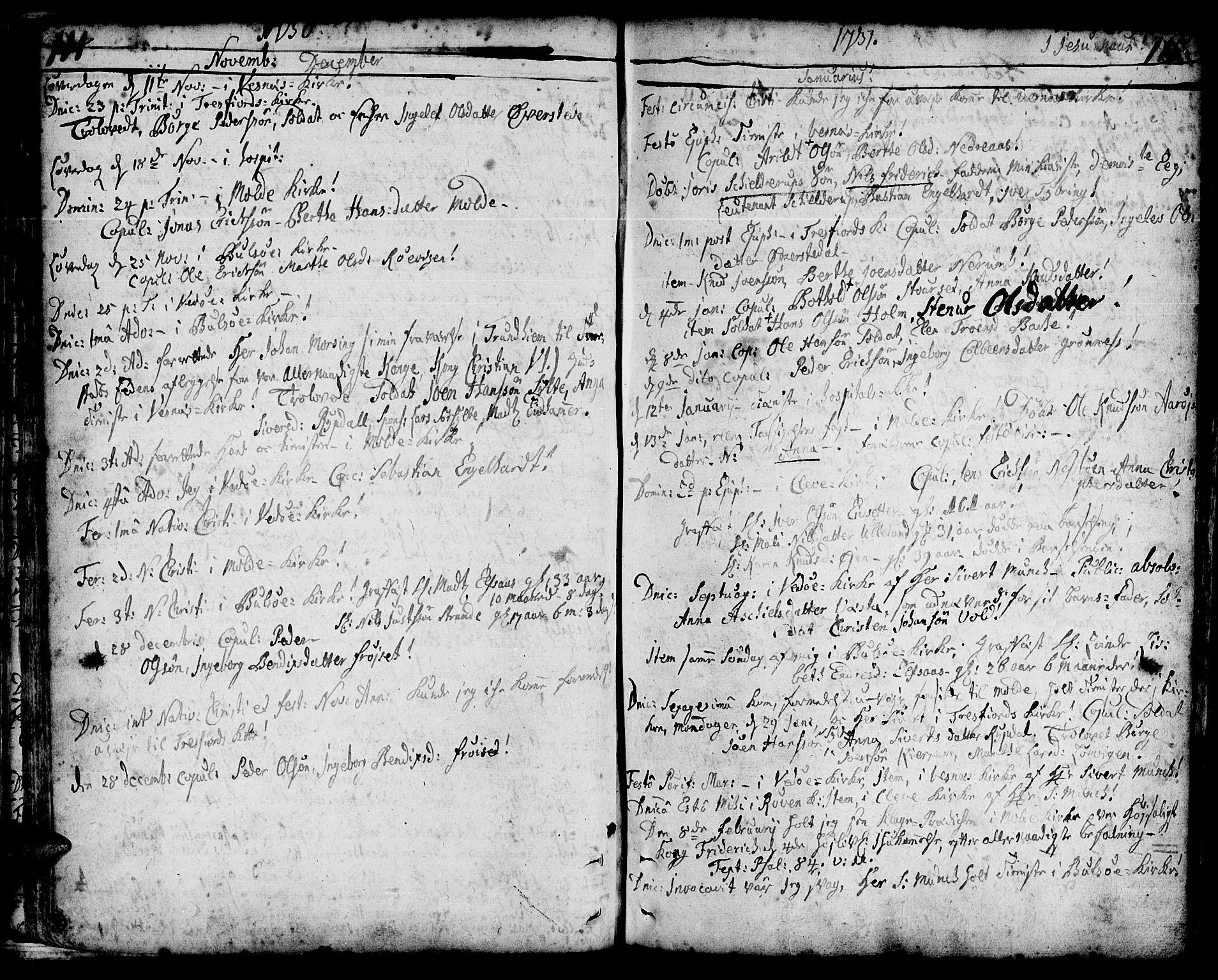 SAT, Ministerialprotokoller, klokkerbøker og fødselsregistre - Møre og Romsdal, 547/L0599: Ministerialbok nr. 547A01, 1721-1764, s. 116-117