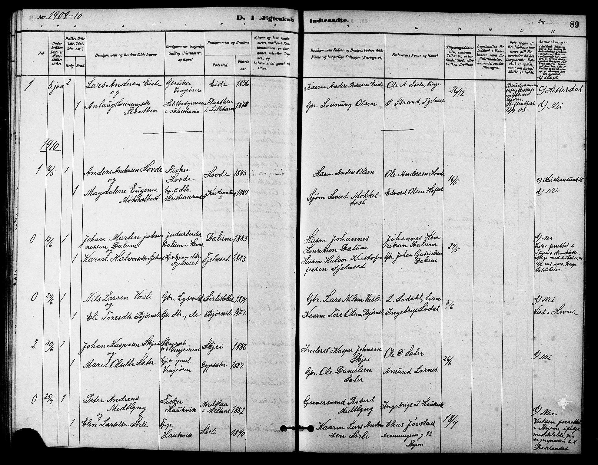 SAT, Ministerialprotokoller, klokkerbøker og fødselsregistre - Sør-Trøndelag, 631/L0514: Klokkerbok nr. 631C02, 1879-1912, s. 89