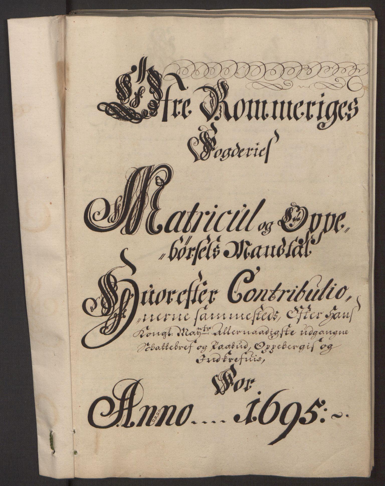RA, Rentekammeret inntil 1814, Reviderte regnskaper, Fogderegnskap, R12/L0707: Fogderegnskap Øvre Romerike, 1695, s. 83
