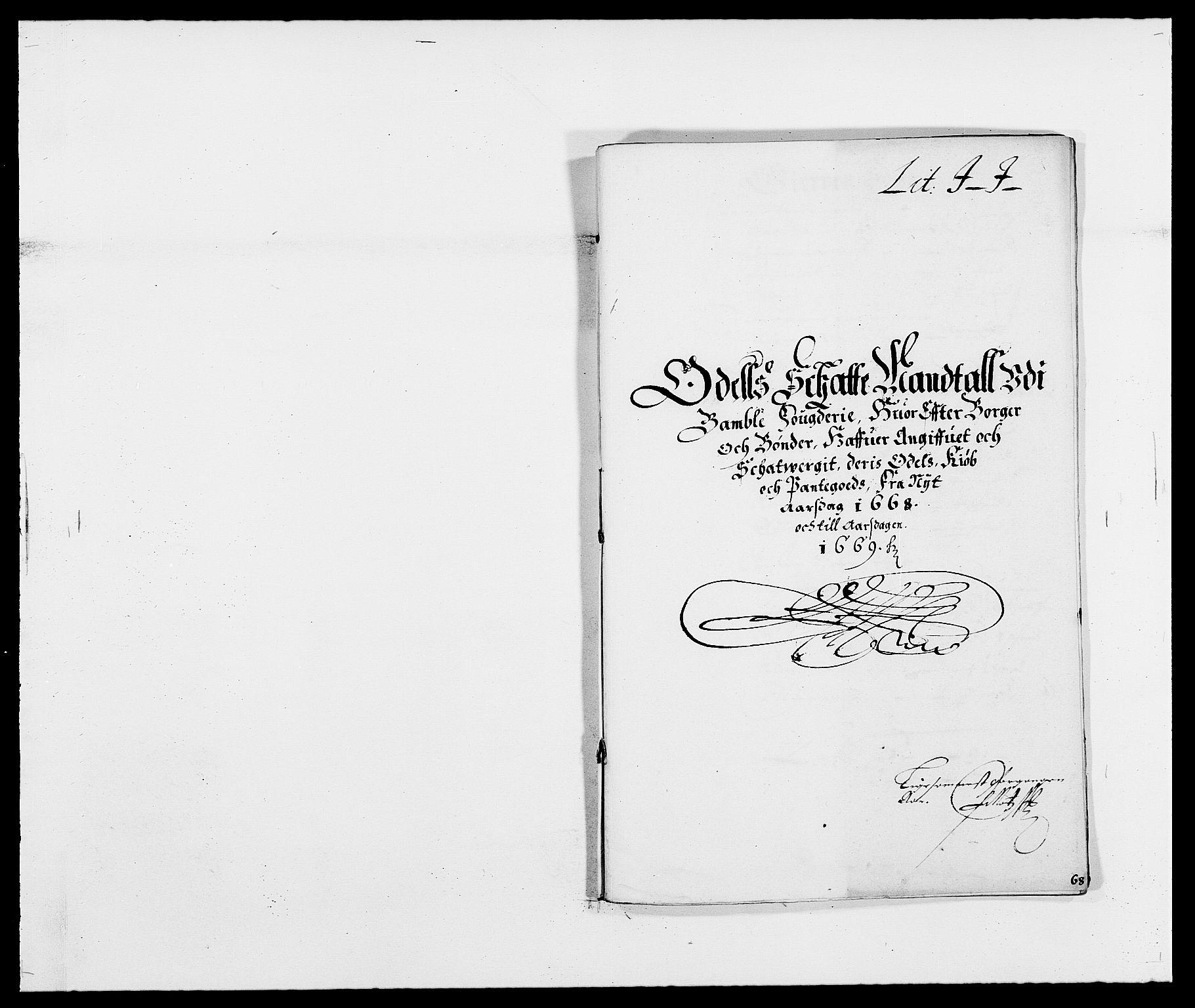 RA, Rentekammeret inntil 1814, Reviderte regnskaper, Fogderegnskap, R34/L2040: Fogderegnskap Bamble, 1662-1669, s. 63