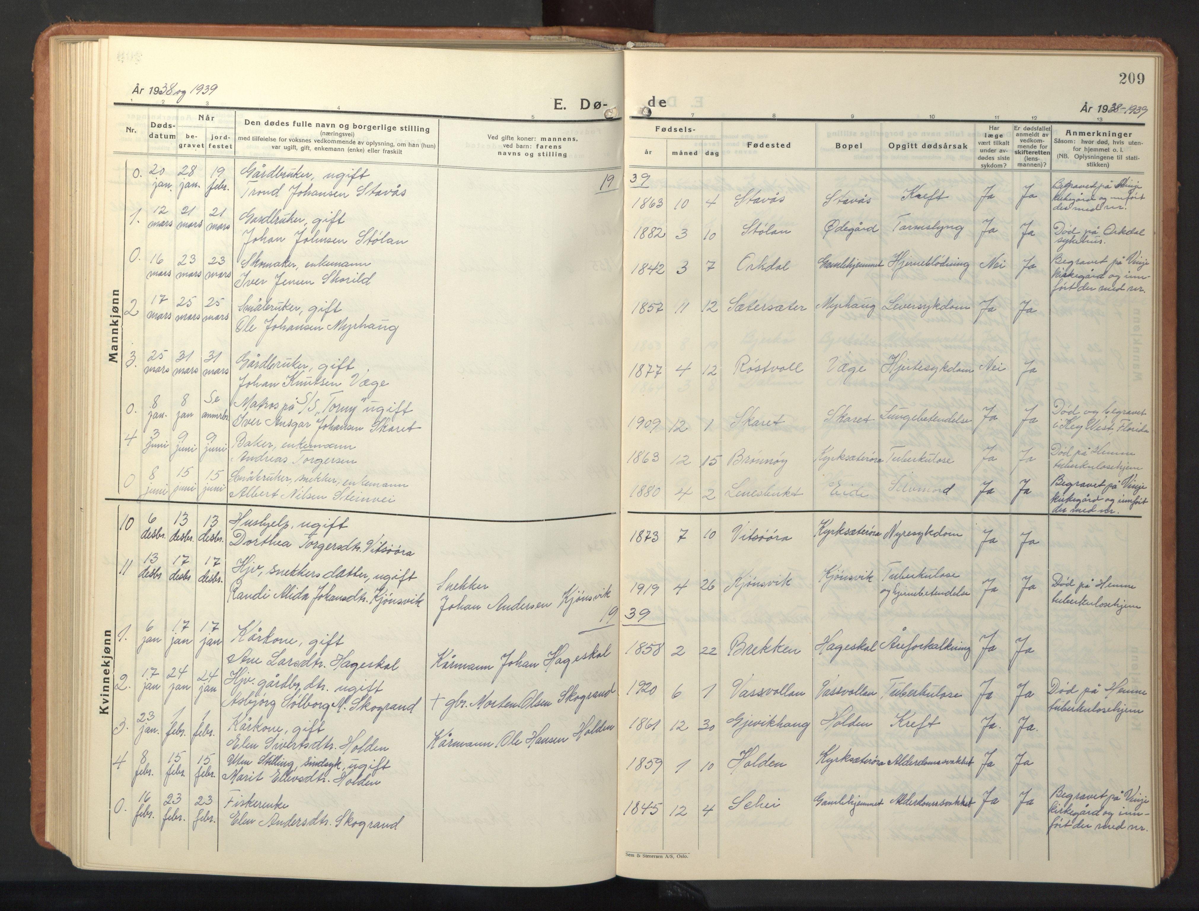 SAT, Ministerialprotokoller, klokkerbøker og fødselsregistre - Sør-Trøndelag, 630/L0508: Klokkerbok nr. 630C06, 1933-1950, s. 209