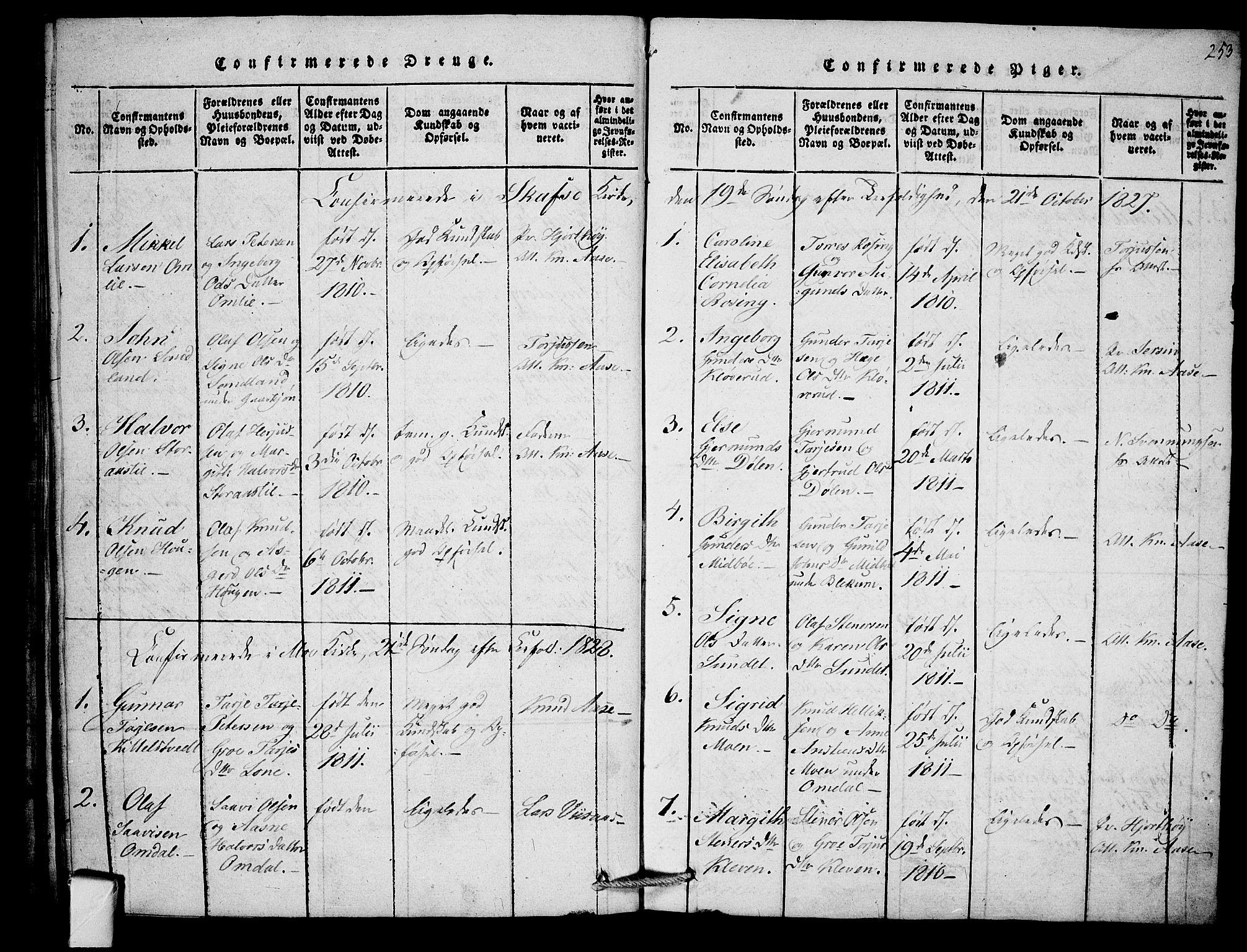 SAKO, Mo kirkebøker, F/Fb/L0001: Ministerialbok nr. II 1, 1814-1844, s. 253